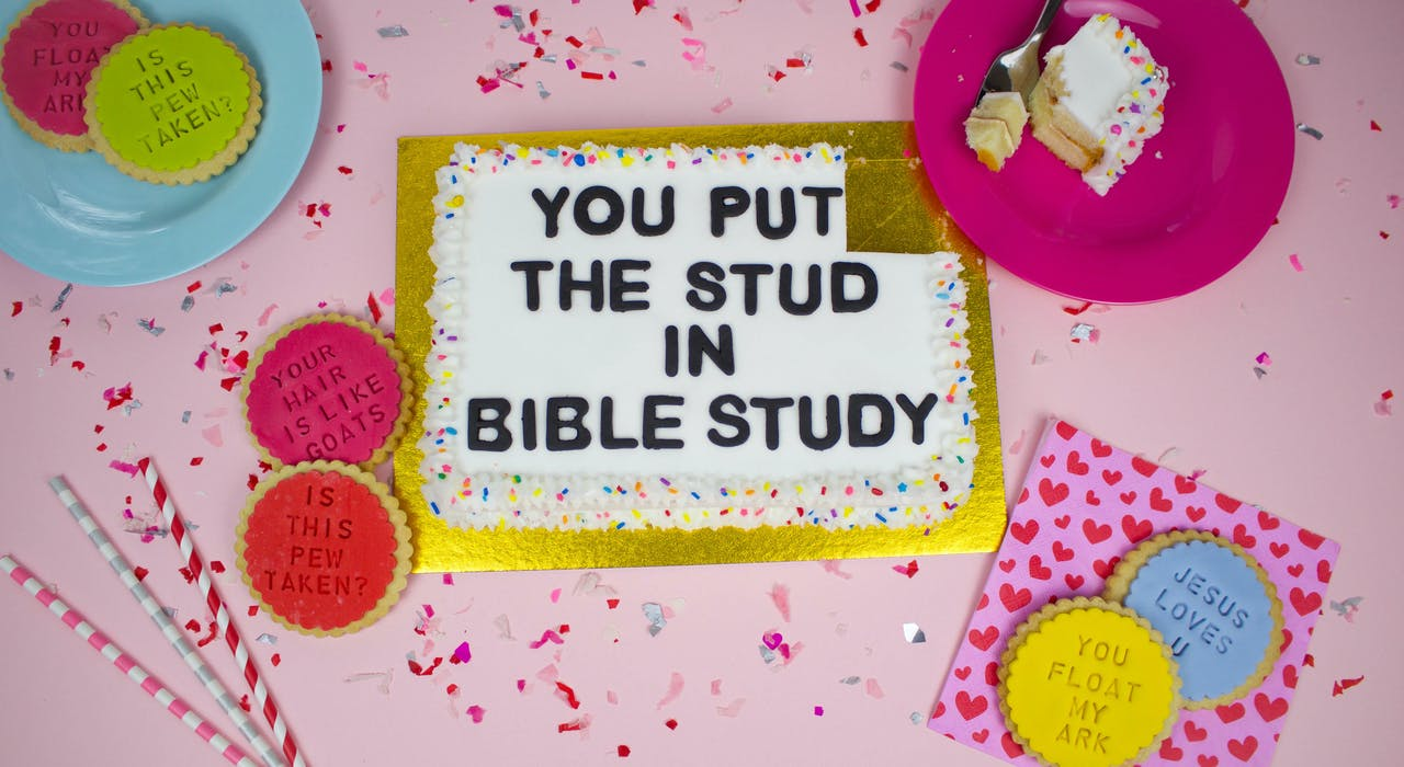 You put the stud in bible study cake