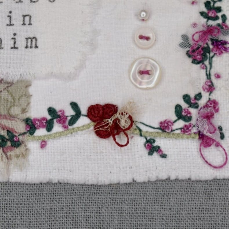 Close up of Christian Textile Art by Teeny White Daisy at Cheerfully Given