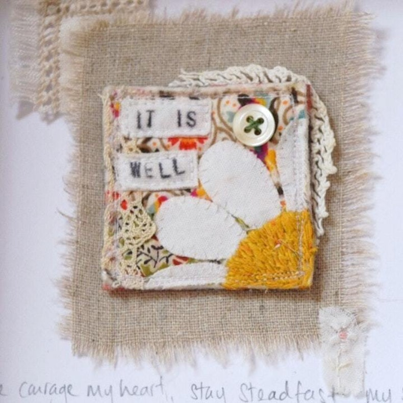 It Is Well With My Soul Christian Textile Art by Maxine Geurts of Teeny White Daisy at Cheerfully Given