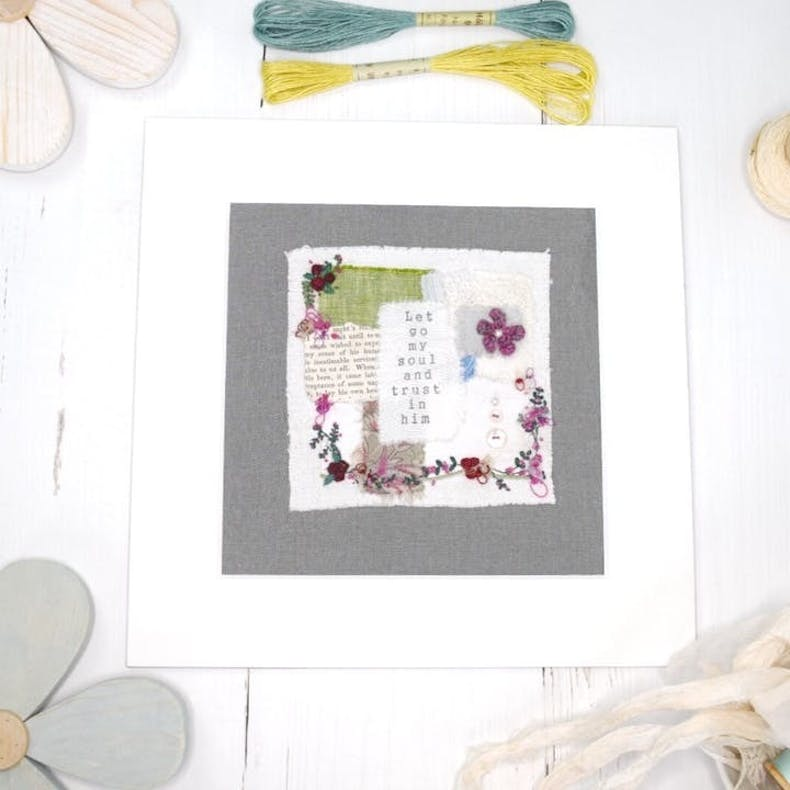 Let Go My Soul Christian Textile Art by Teeny White Daisy at Cheerfully Given