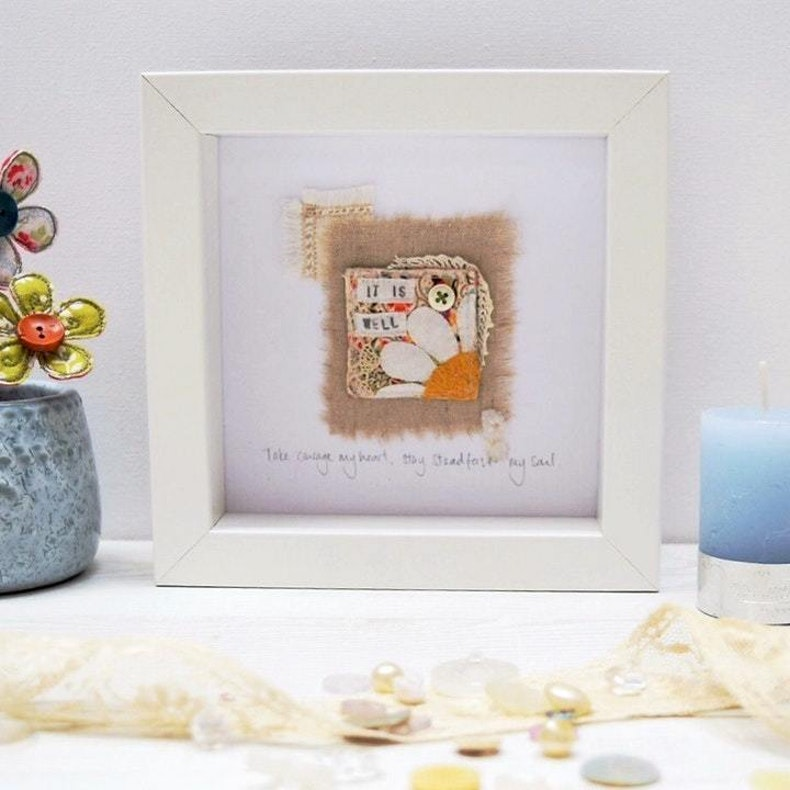 Take Courage My Heart Christian Textile Art by Teeny White Daisy at Cheerfully Given