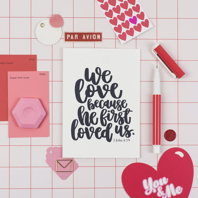 We Love Because He Loved Us Valentines Card