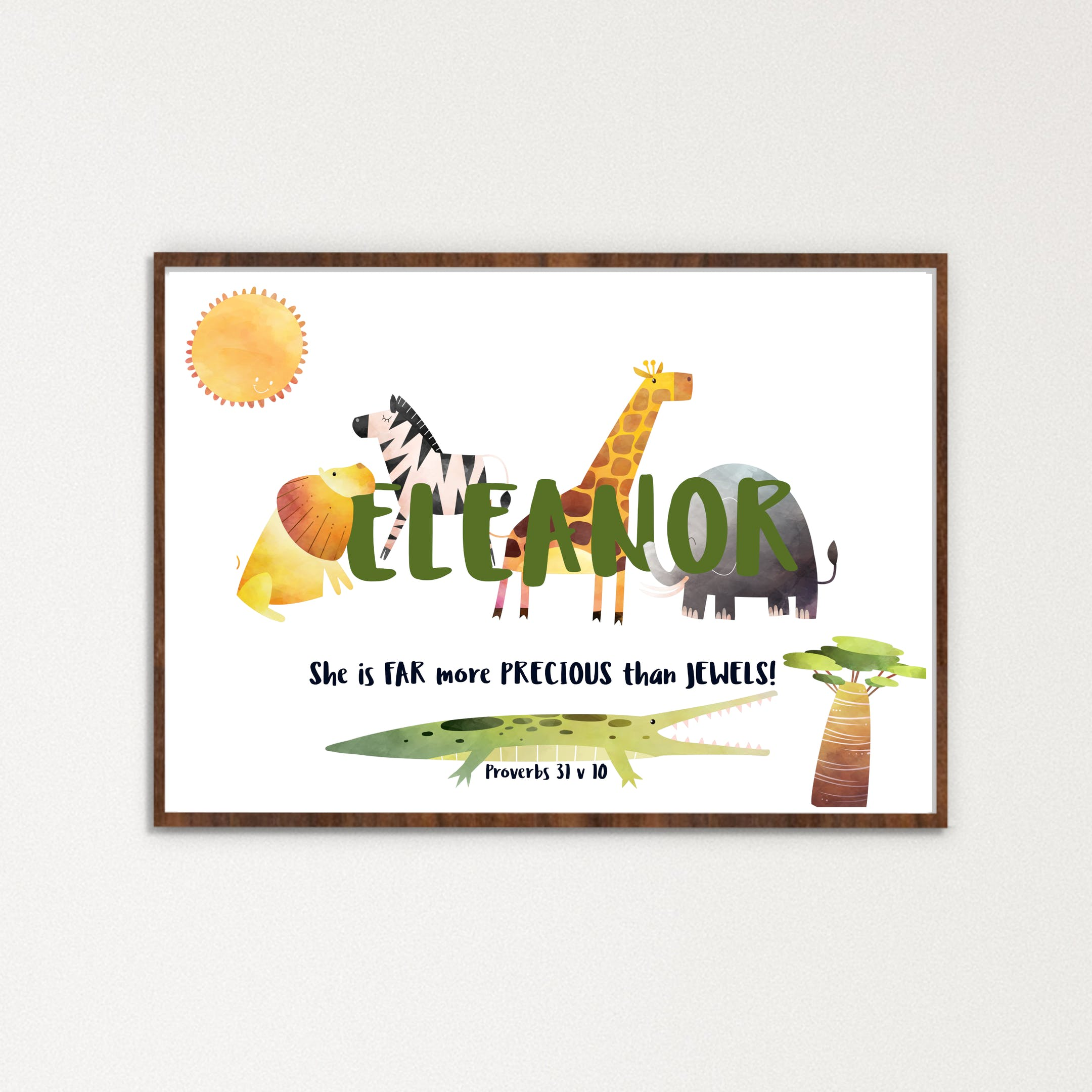 Name Eleanor in centre with safari animals behind | Personalised Print by Alpha Letterbox at Cheerfully Given - Christian Prints UK