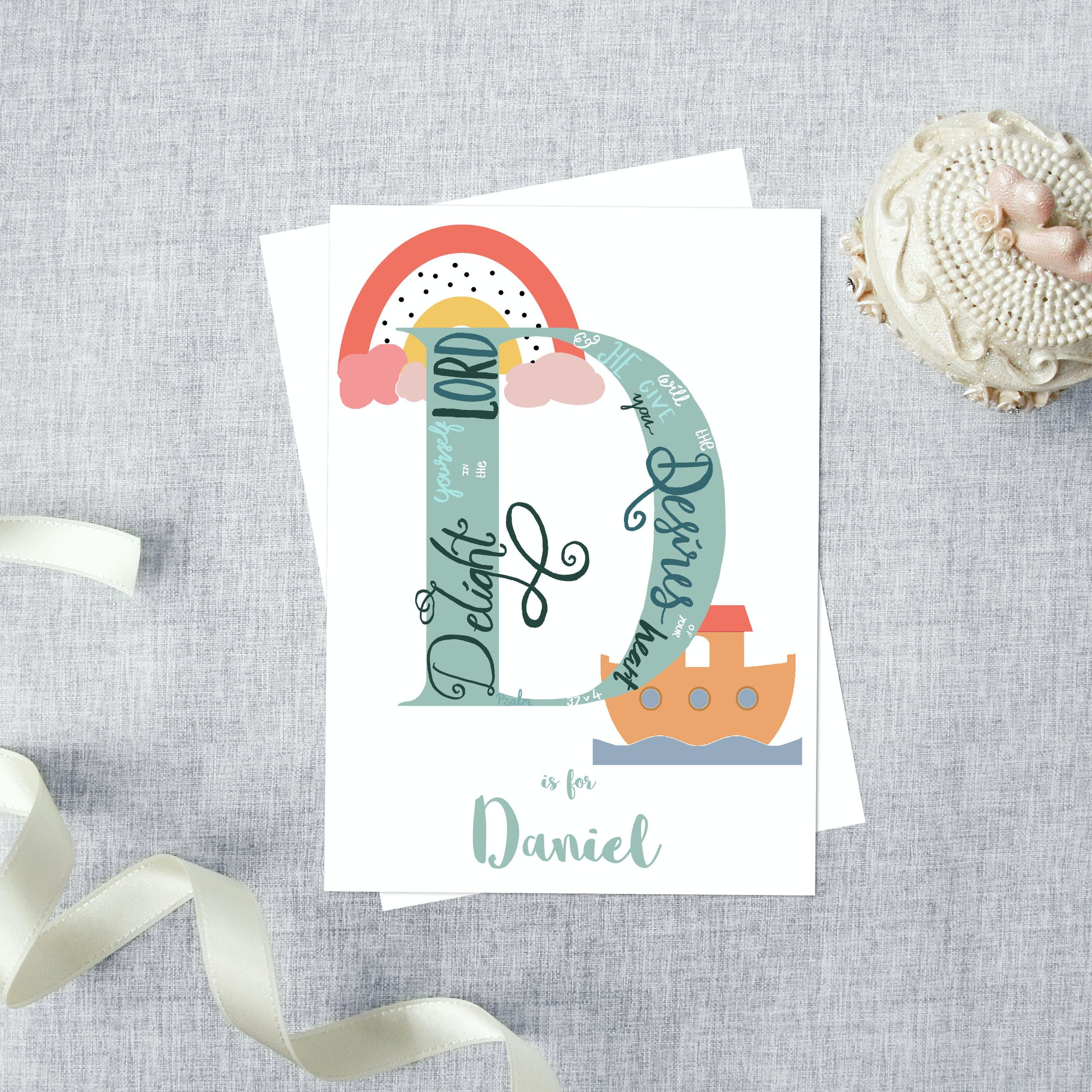 Noah Card   Personalised Christian Cards   Alpha Letterbox at Cheerfully Given