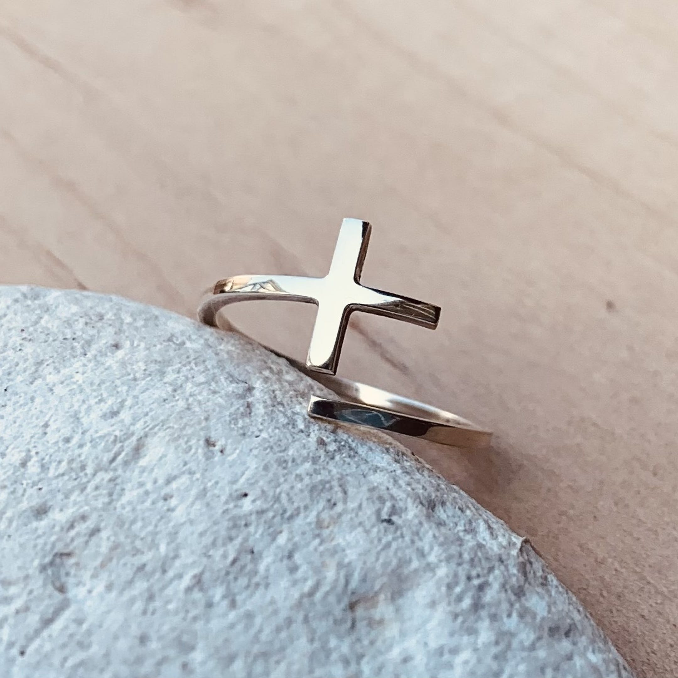 Open Cross Ring   Amy May Jewellery   Cheerfully Given - Christian Rings UK