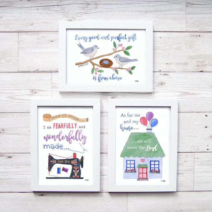 Three watercolour Bible verse prints framed in white on a white wood backdrop by Alice and the Mustard Seed @ Cheerfully Given