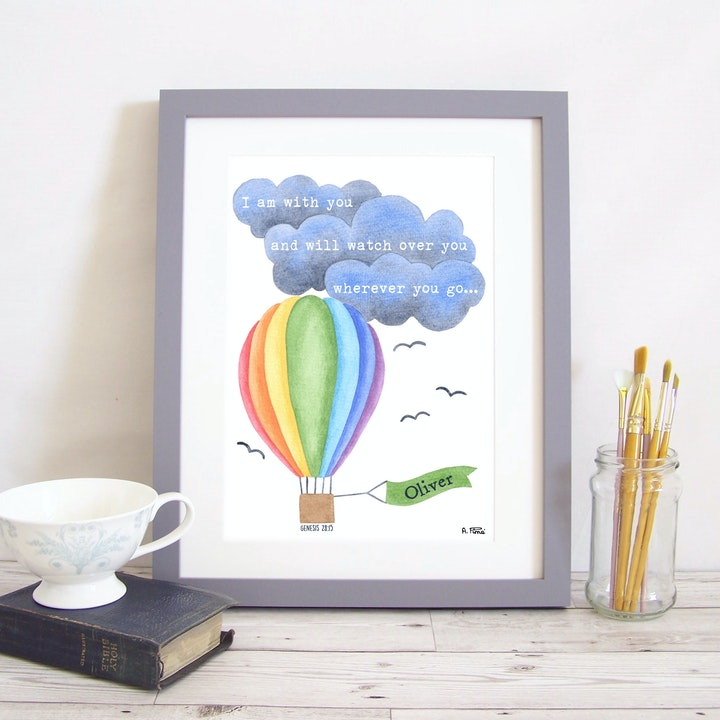 I Am With You Scripture Balloon Watercolour Print with personalised name flag | Made by Alice and the Mustard Seed | Cheerfully Given