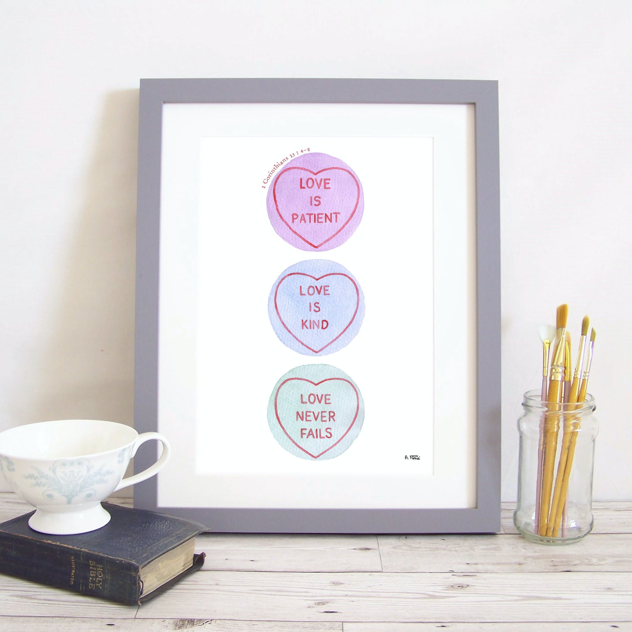 3 Love Hearts in a vertical line with different verses from 1 Corinthians 13 inside by Alice and the Mustard Seed