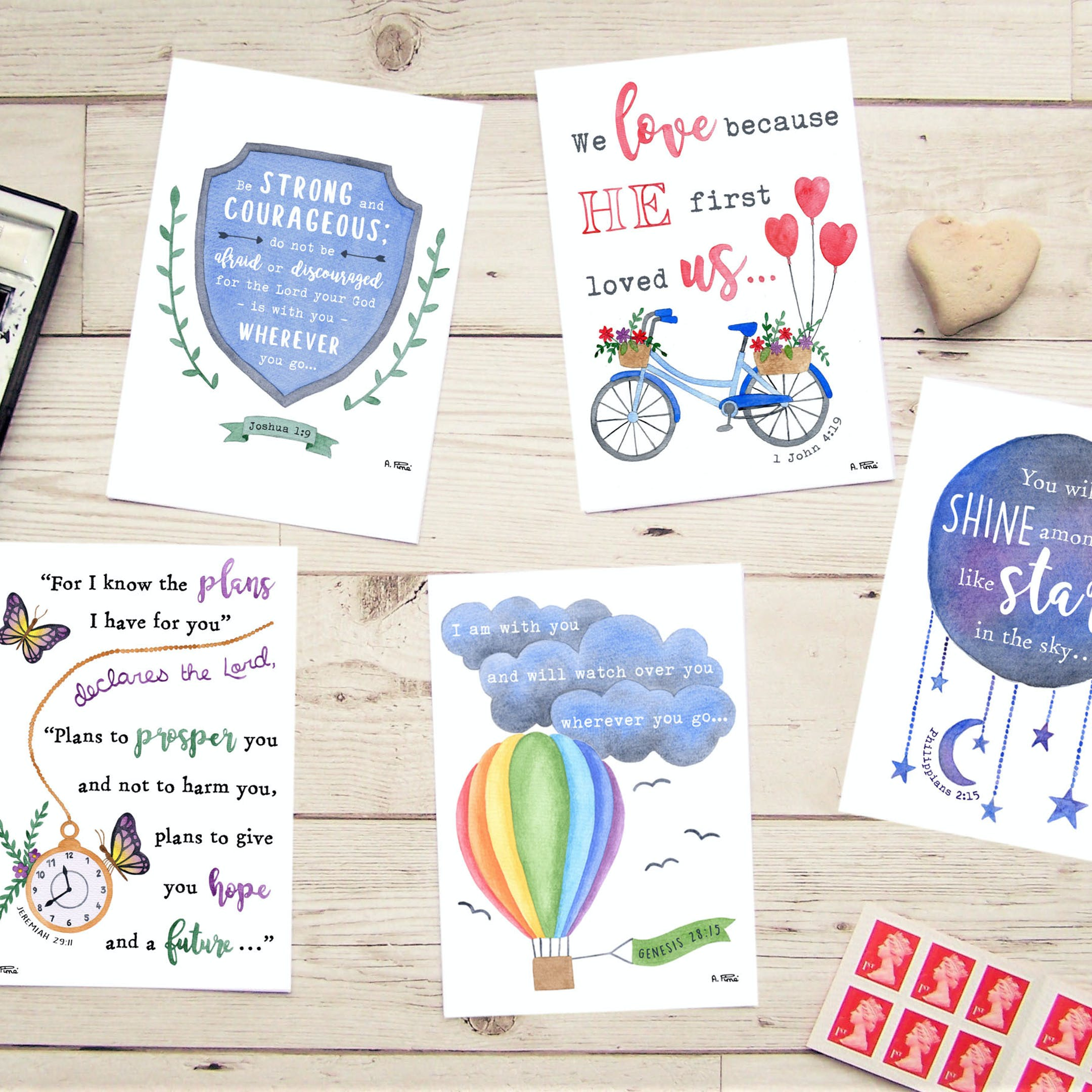 Five flatlay watercolour Christian greeting cards by Alice and the Mustard Seed | Cheerfully Given