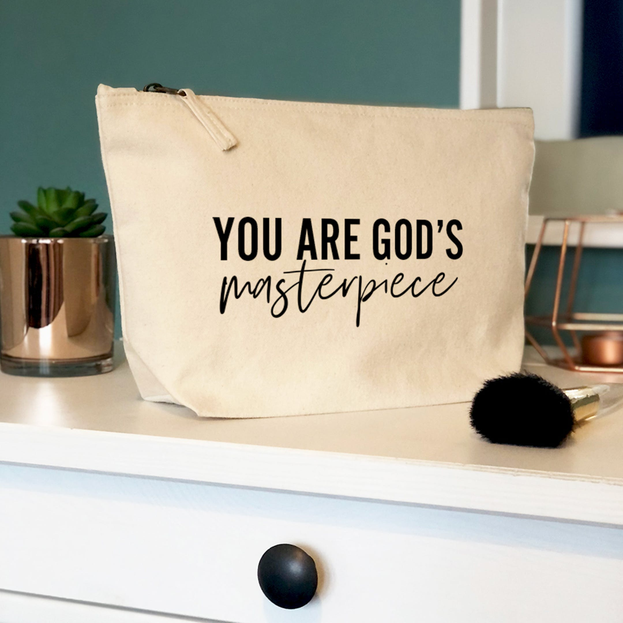 You are God's Masterpiece Christian Makeup Bag   Bow and Arrow UK   Cheerfully Given - Christian Gifts for Her