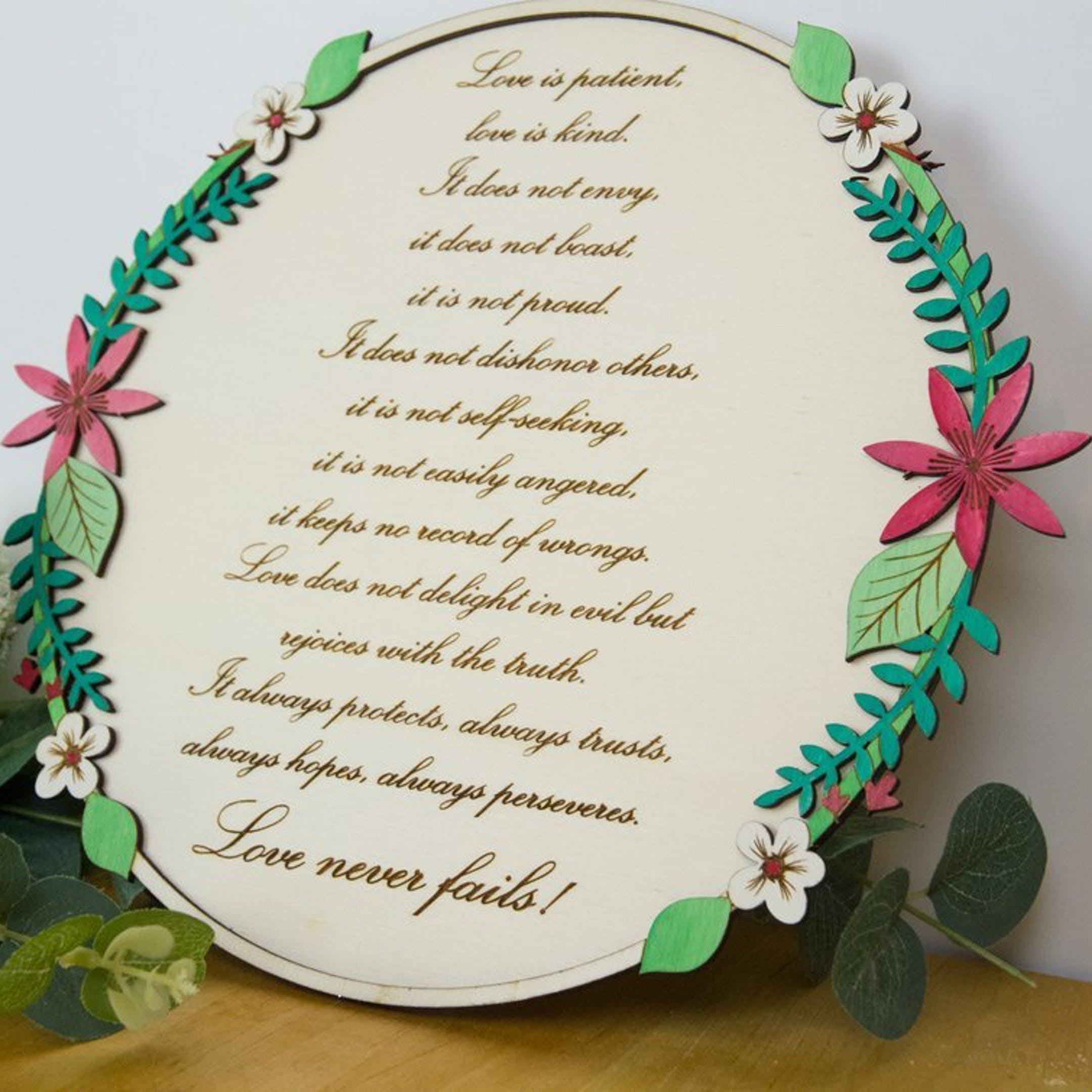 1 Corinthians 13:4-8 Wooden Wall Sign - Birch and Tides