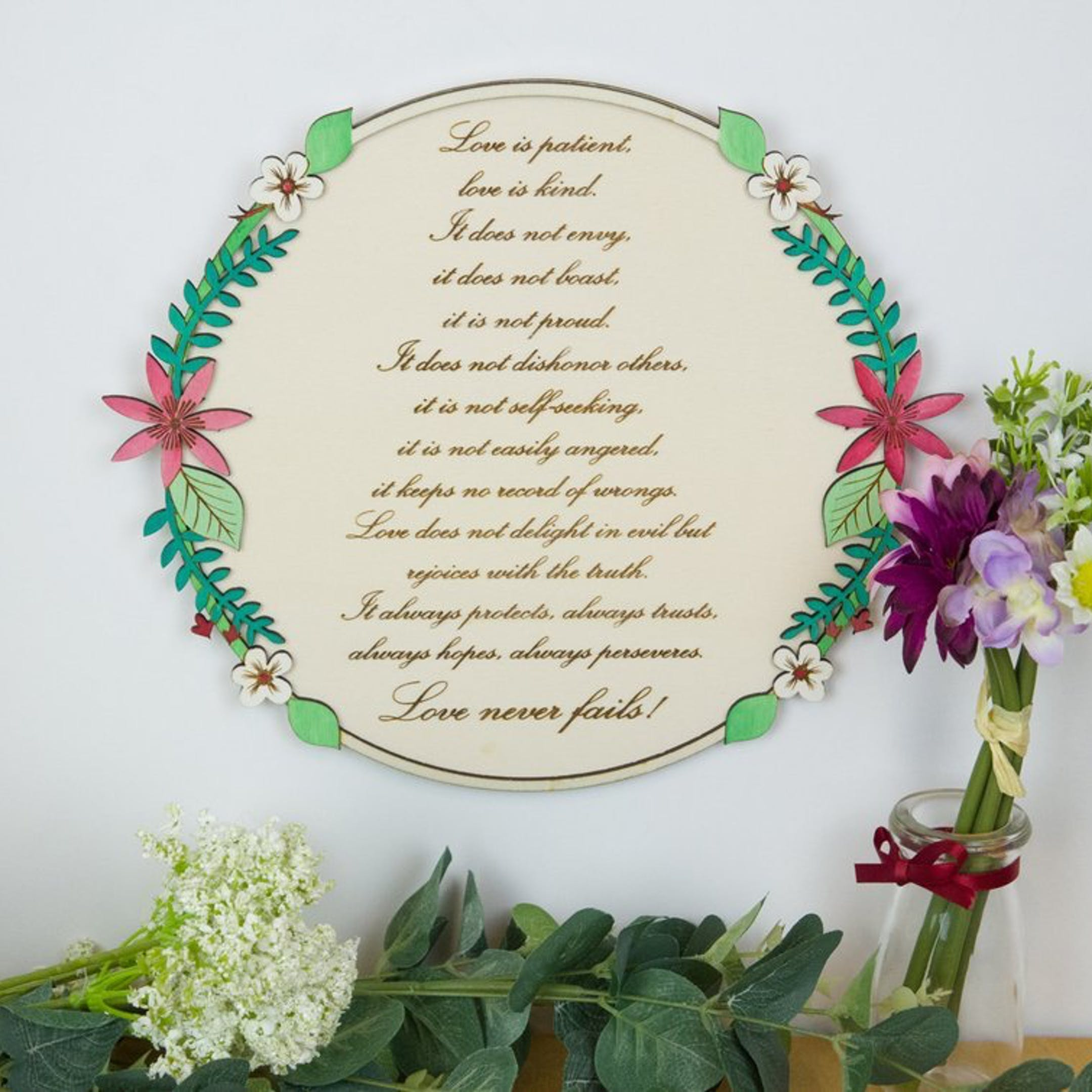 1 Corinthians 13:4-8 Wooden Wall Sign - Love Is Patient - Birch and Tides