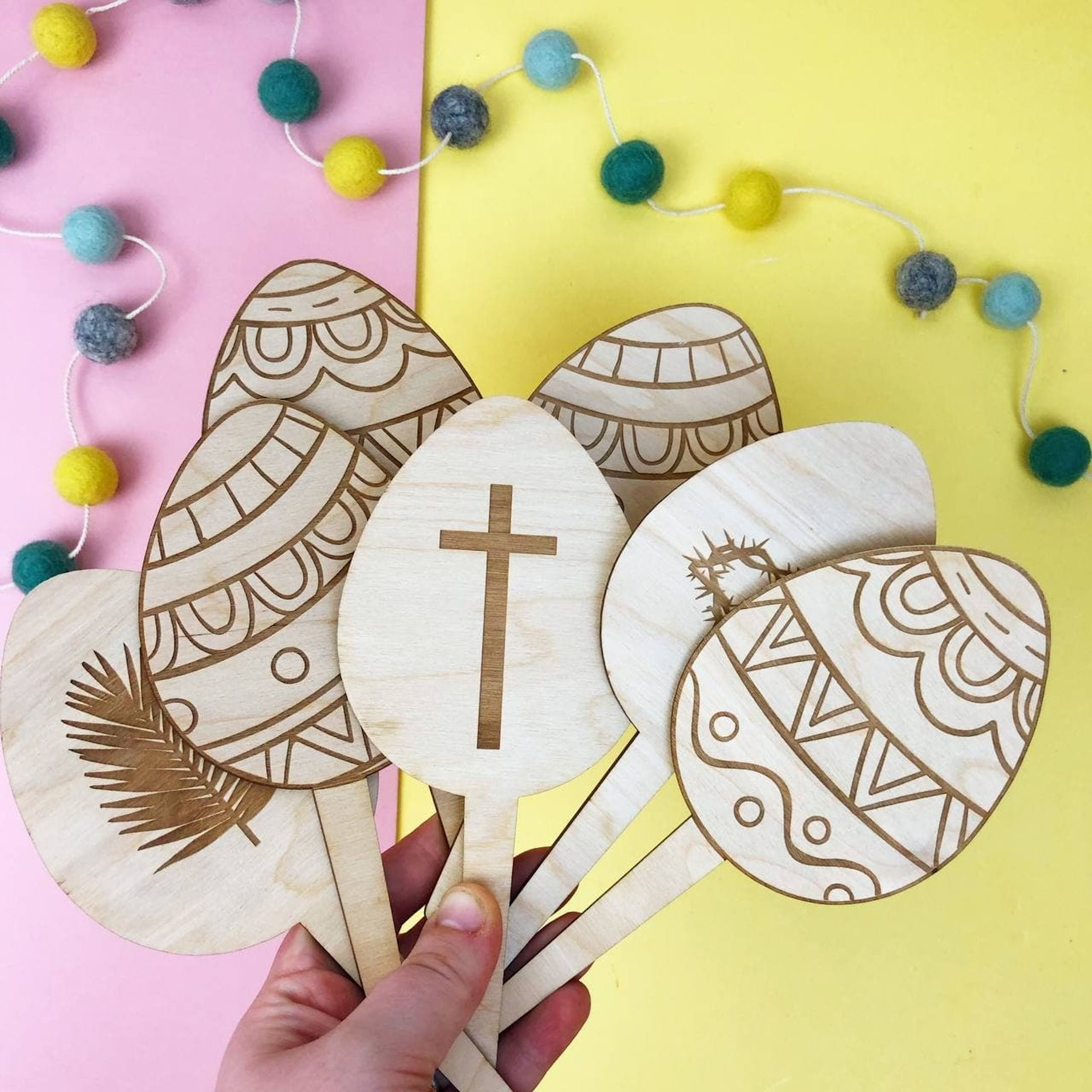 Wooden Egg Christian Easter Decorations by Birch and Tides at Cheerfully Given