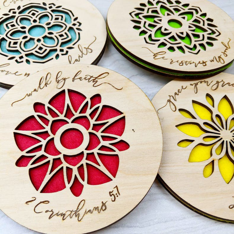 Colourful Scripture Coasters | Birch and Tides | Cheerfully Given - Christian Gifts UK