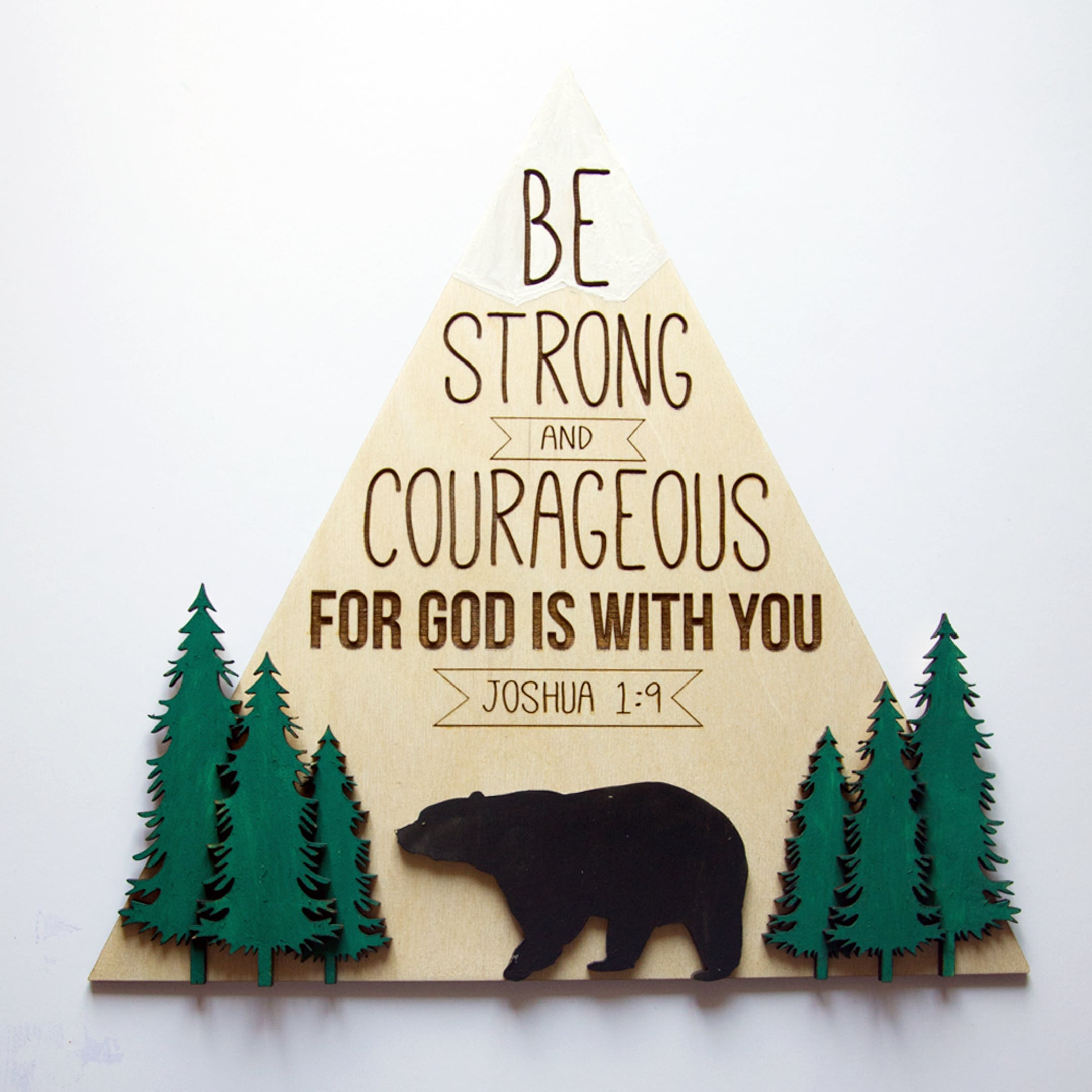 Couragous - Wooden Nursery Sign - Joshua 1:9 - Birch and Tides