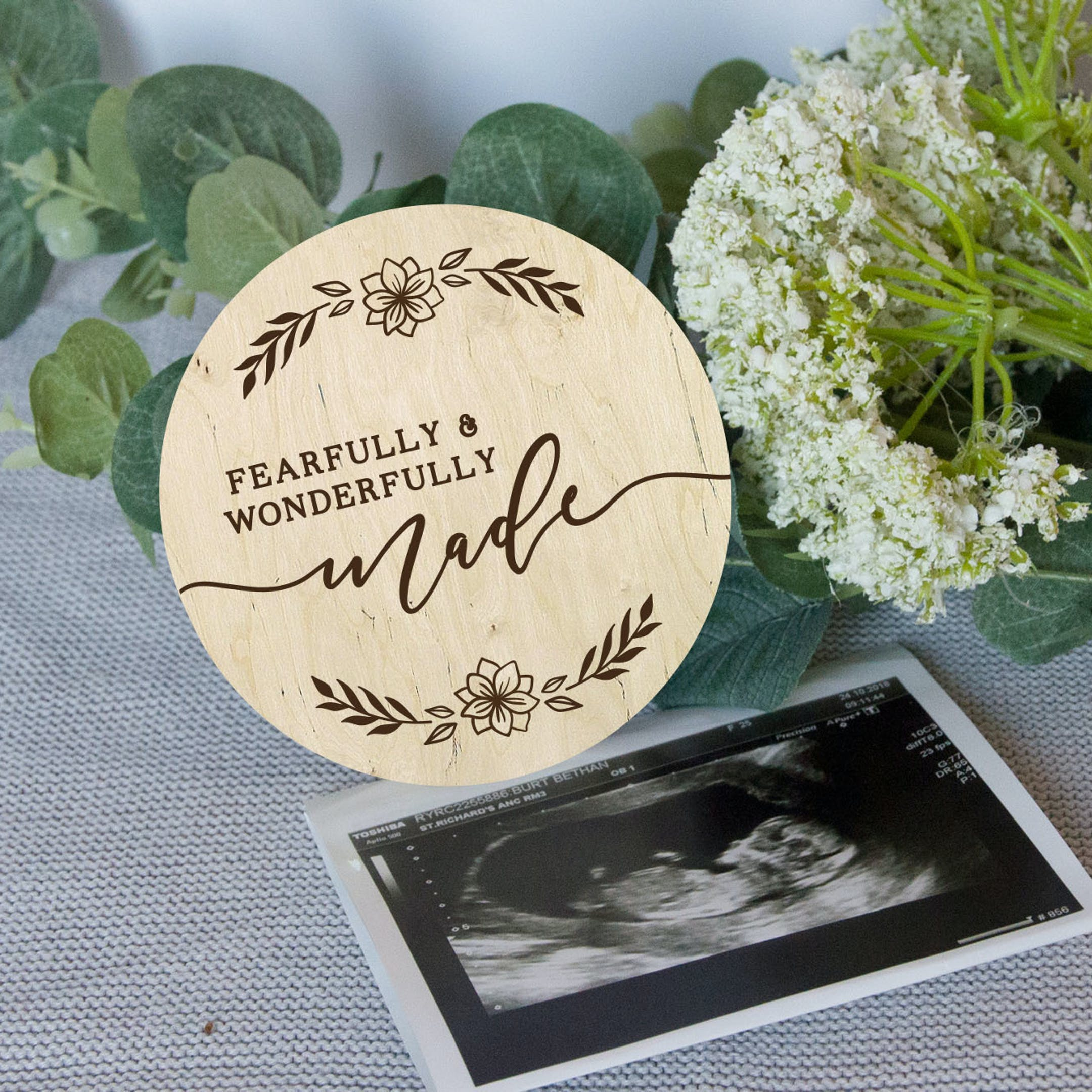 'Fearfully & Wonderfully Made' Wooden Baby Milestone Disc - Psalm 139:14 - Photo Prop - Birch and Tides