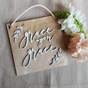 Grace Upon Grace Typography Wooden Sign - Birch and Tides