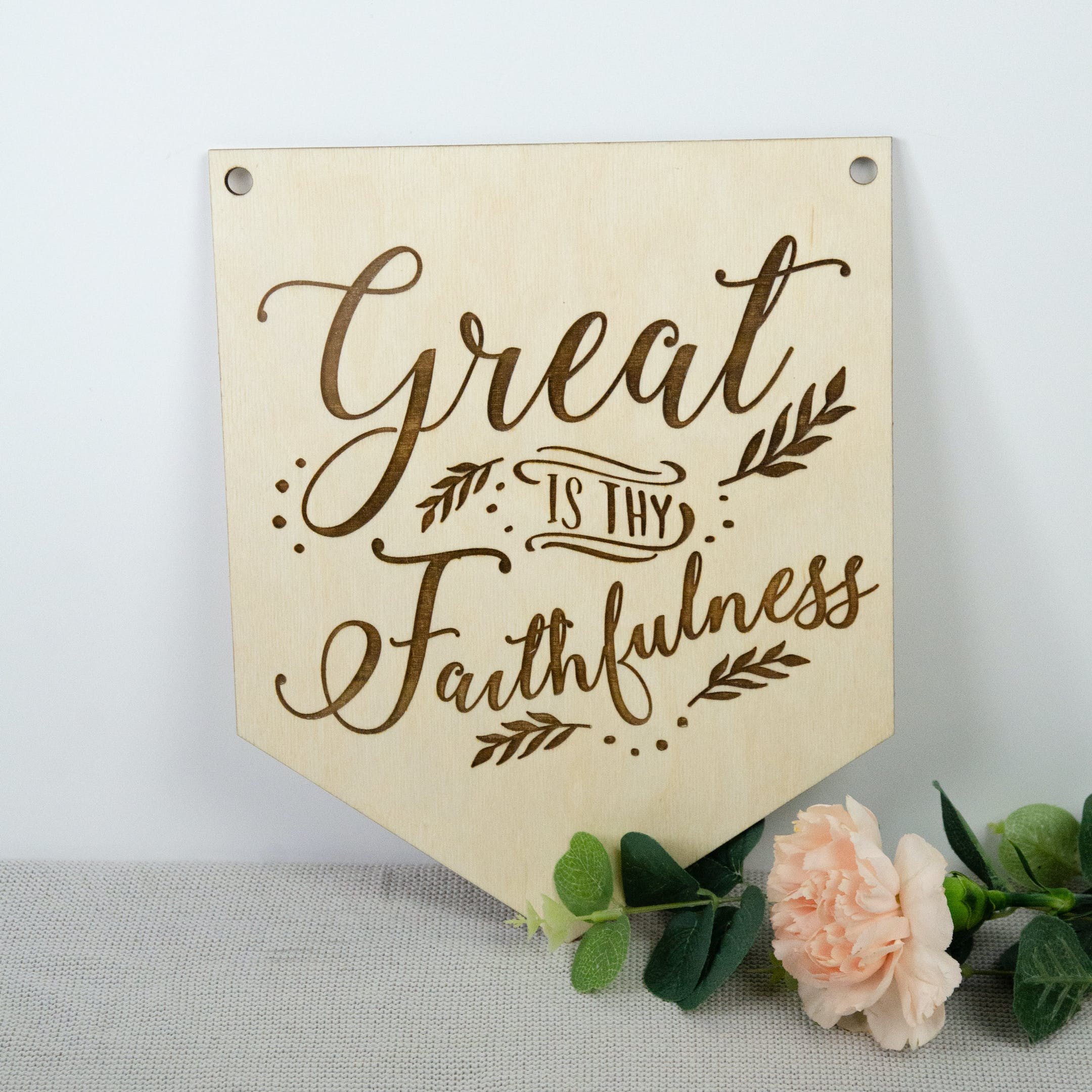 Great Is Thy Faithfulness Wooden Hymn Banner - Birch and Tides