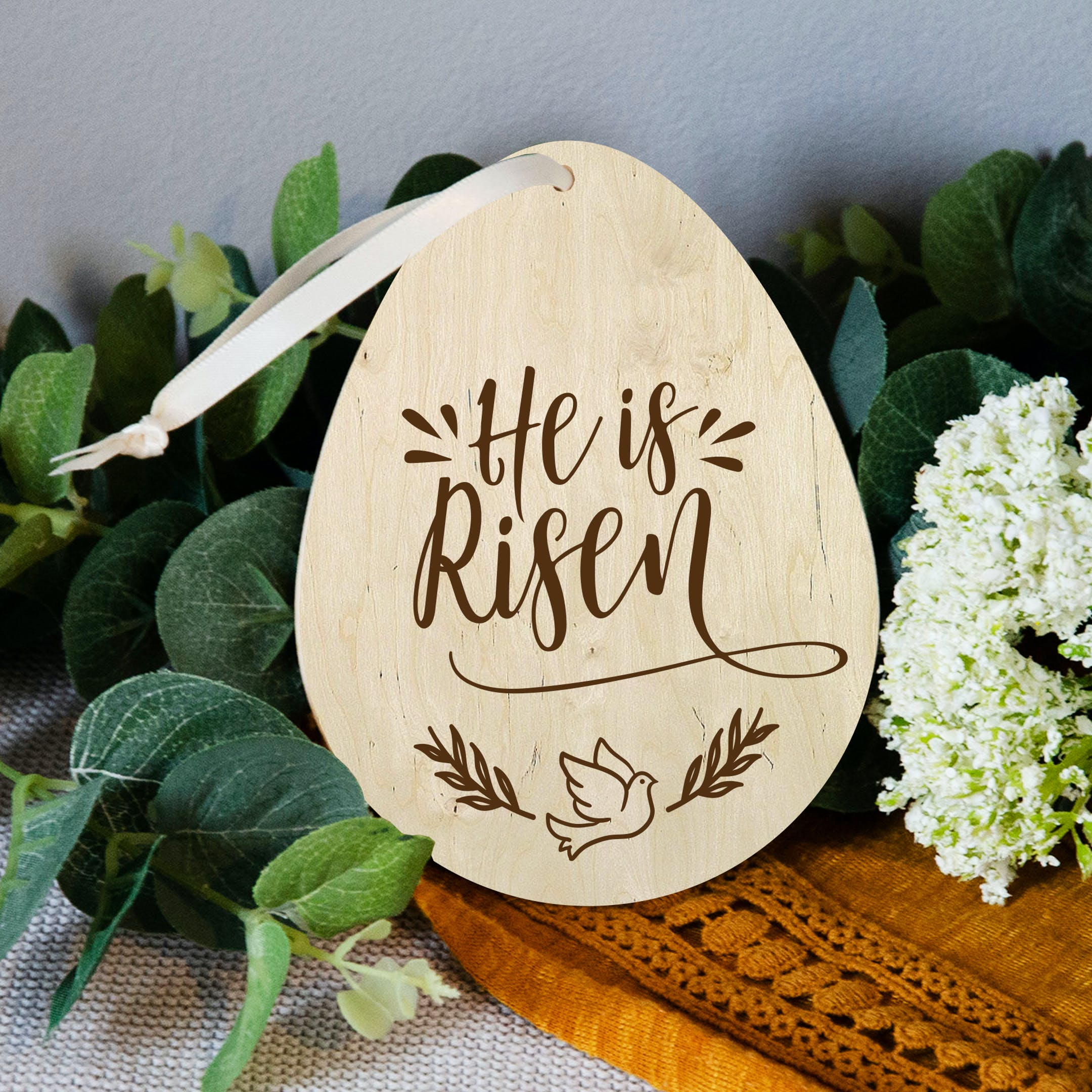 'He Is Risen' Christian Easter Decoration Tag - Matthew 28:6 - Birch and Tides