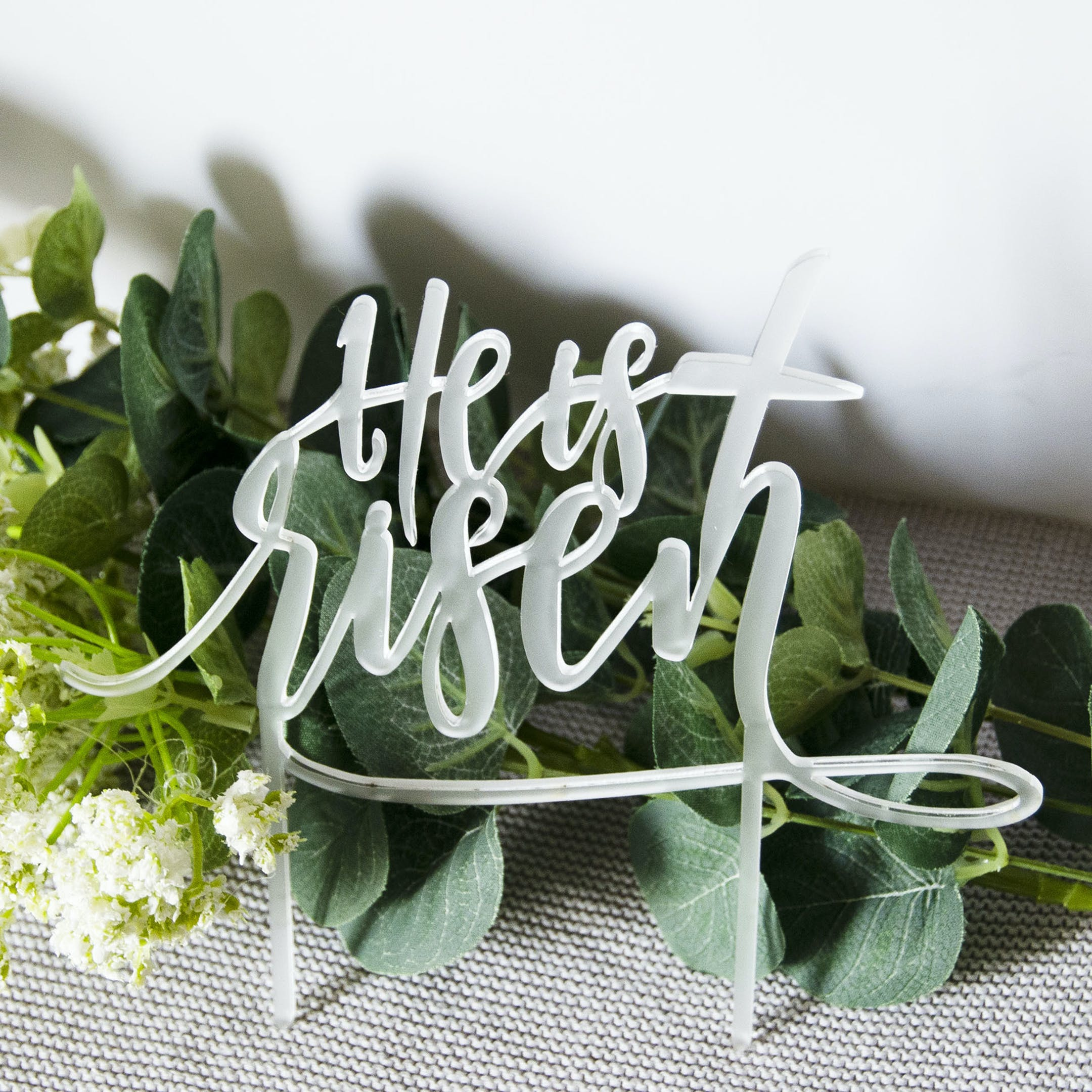 'He Is Risen' Easter Cake Topper - Matthew 28:6 - Birch and Tides