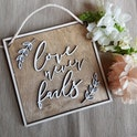 Love Never Fails - Wooden Wall Decor Sign - 1 Corinthians 13:8 - Birch and Tides