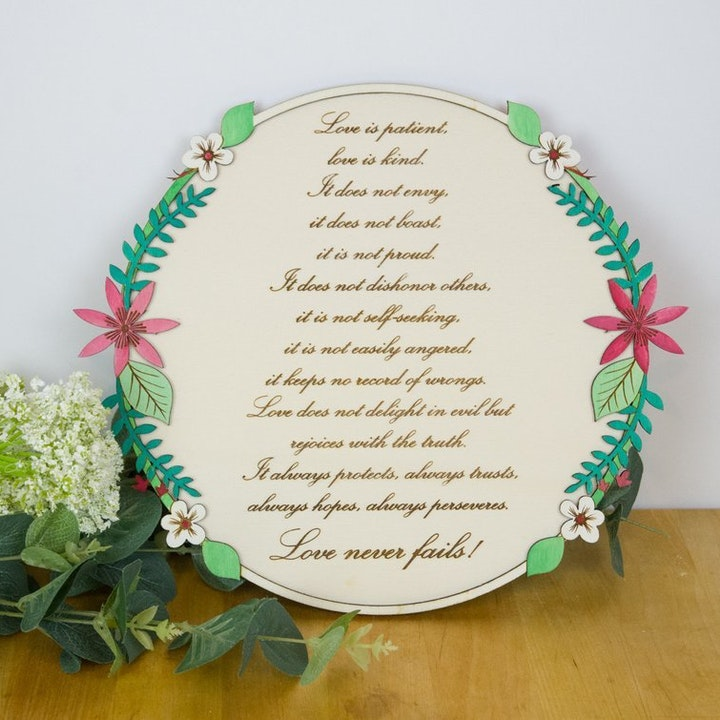 'Love is patient...' Wooden Wall Sign - 1 Corinthians 13:4-8 - Birch and Tides