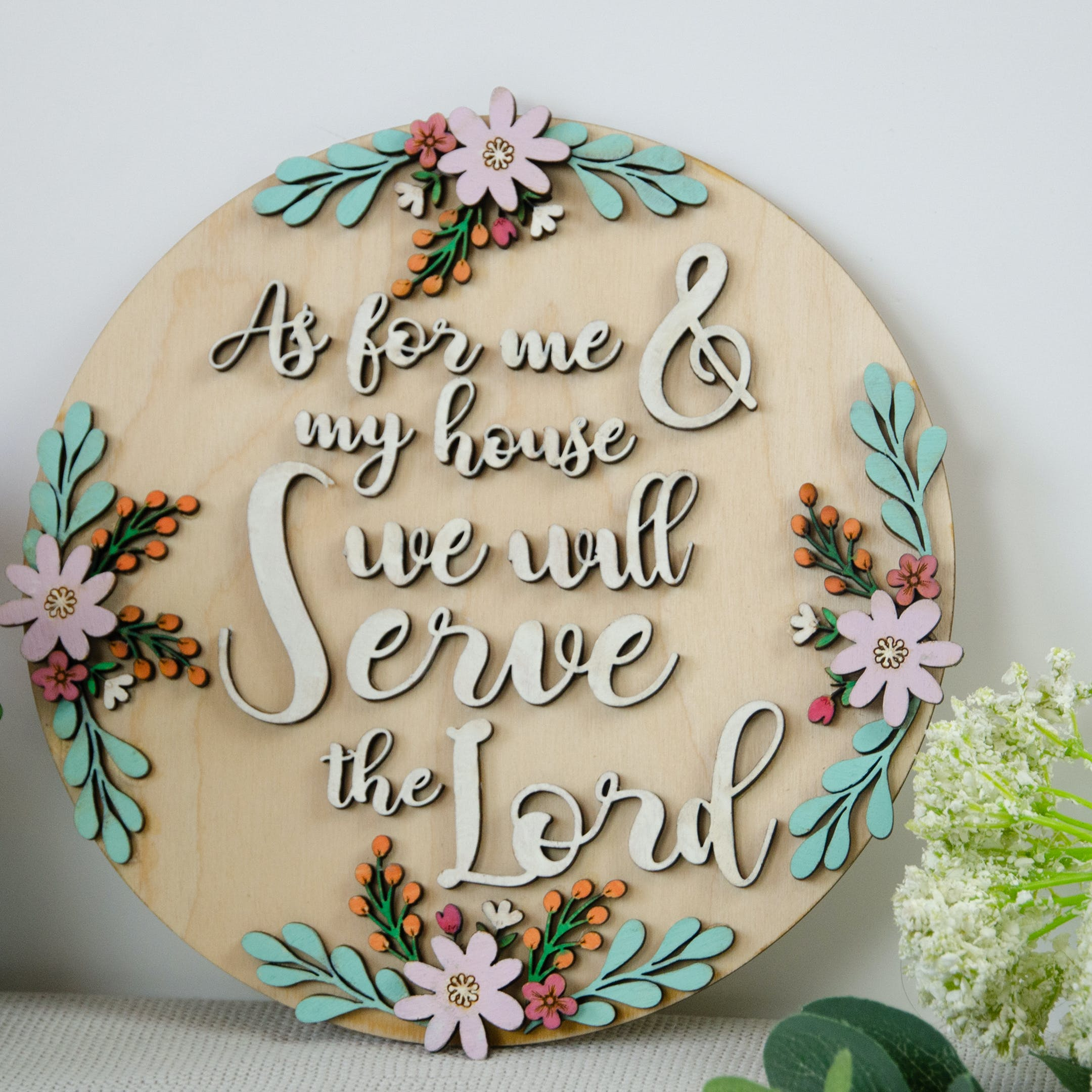 Serve the Lord - Wooden Verse Sign - Joshua 24:15 - Birch and Tides
