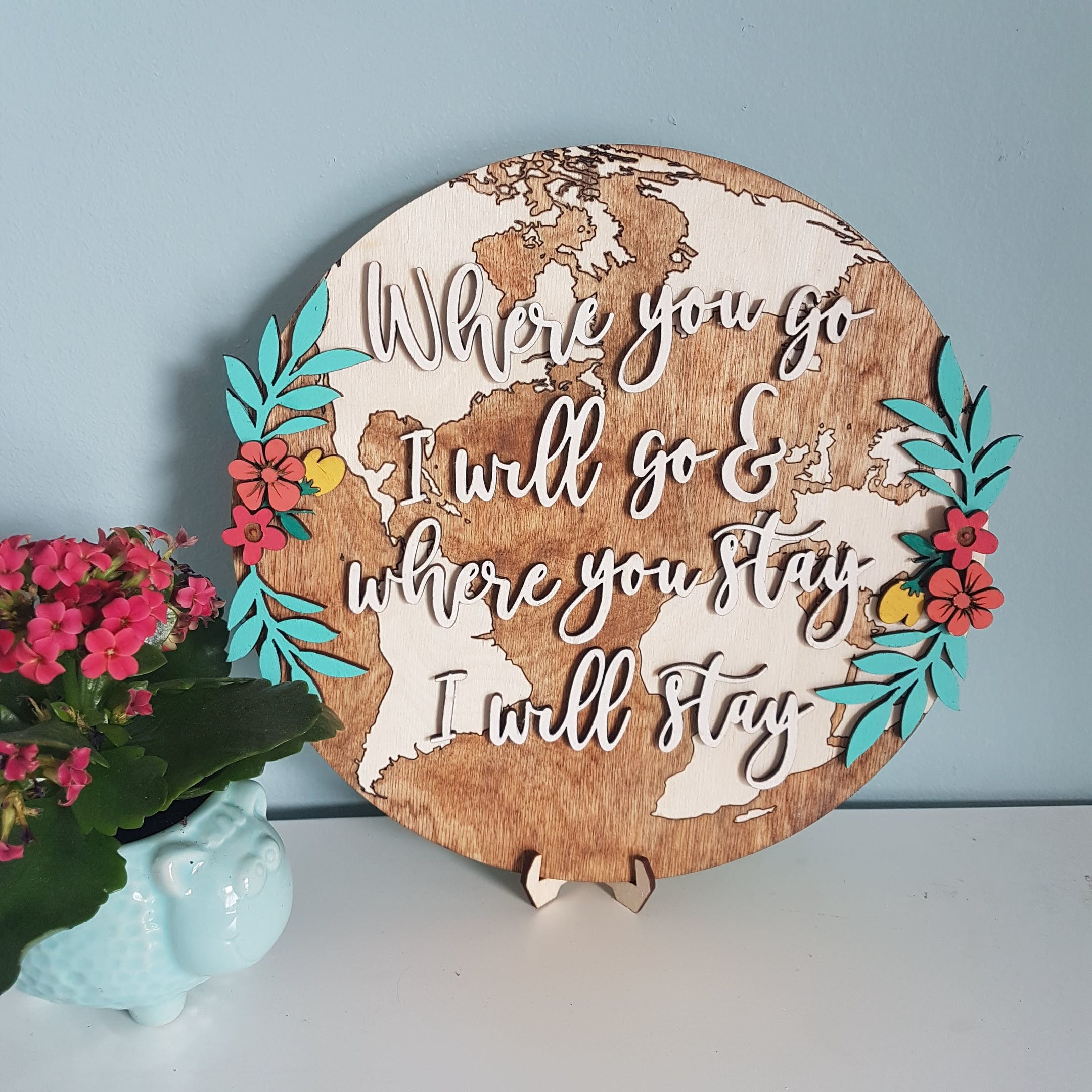 Travel World Wooden Home Decor Sign - Ruth 1:16 - Birch and Tides