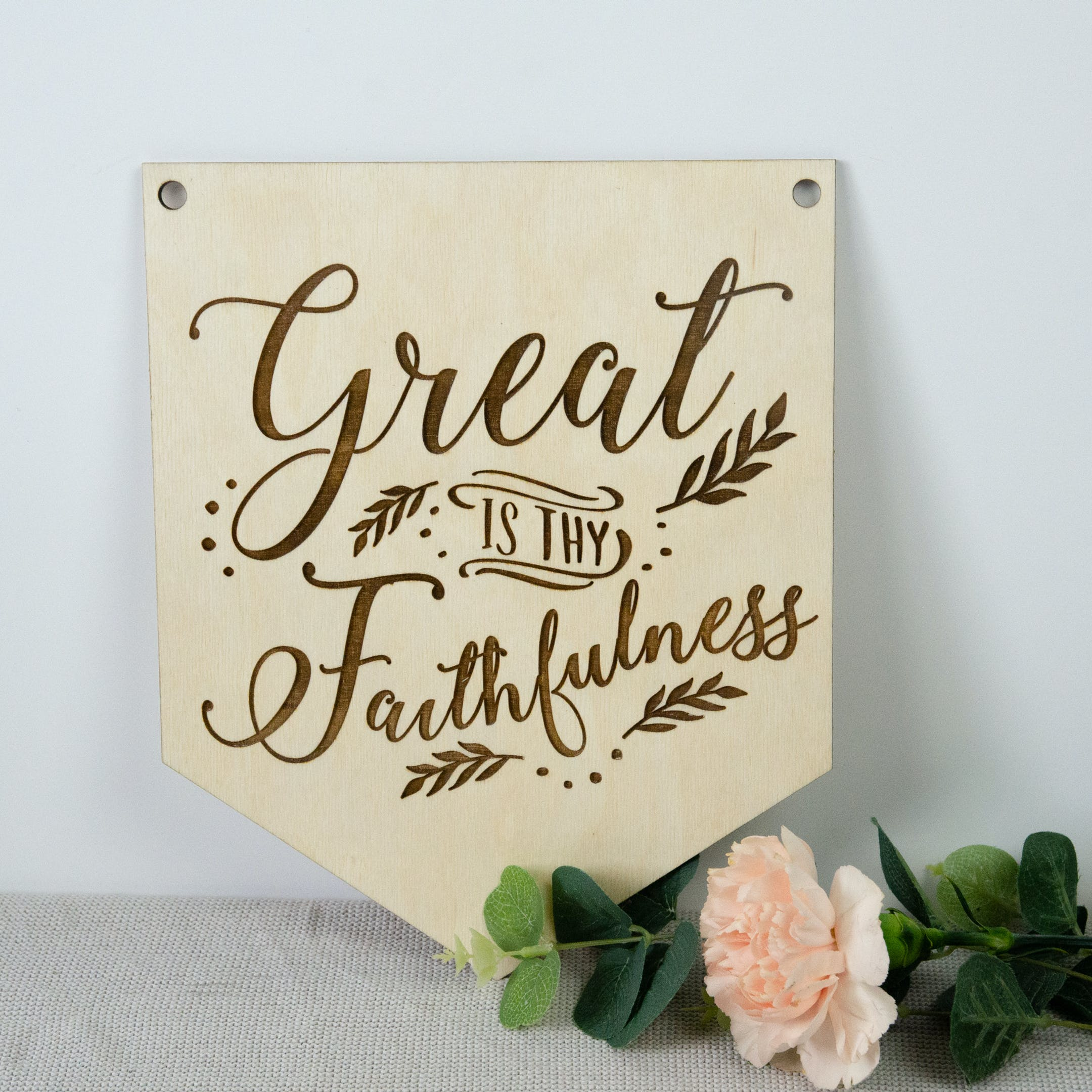 Wooden Hymn Banner - Great Is Thy Faithfulness - Birch and Tides