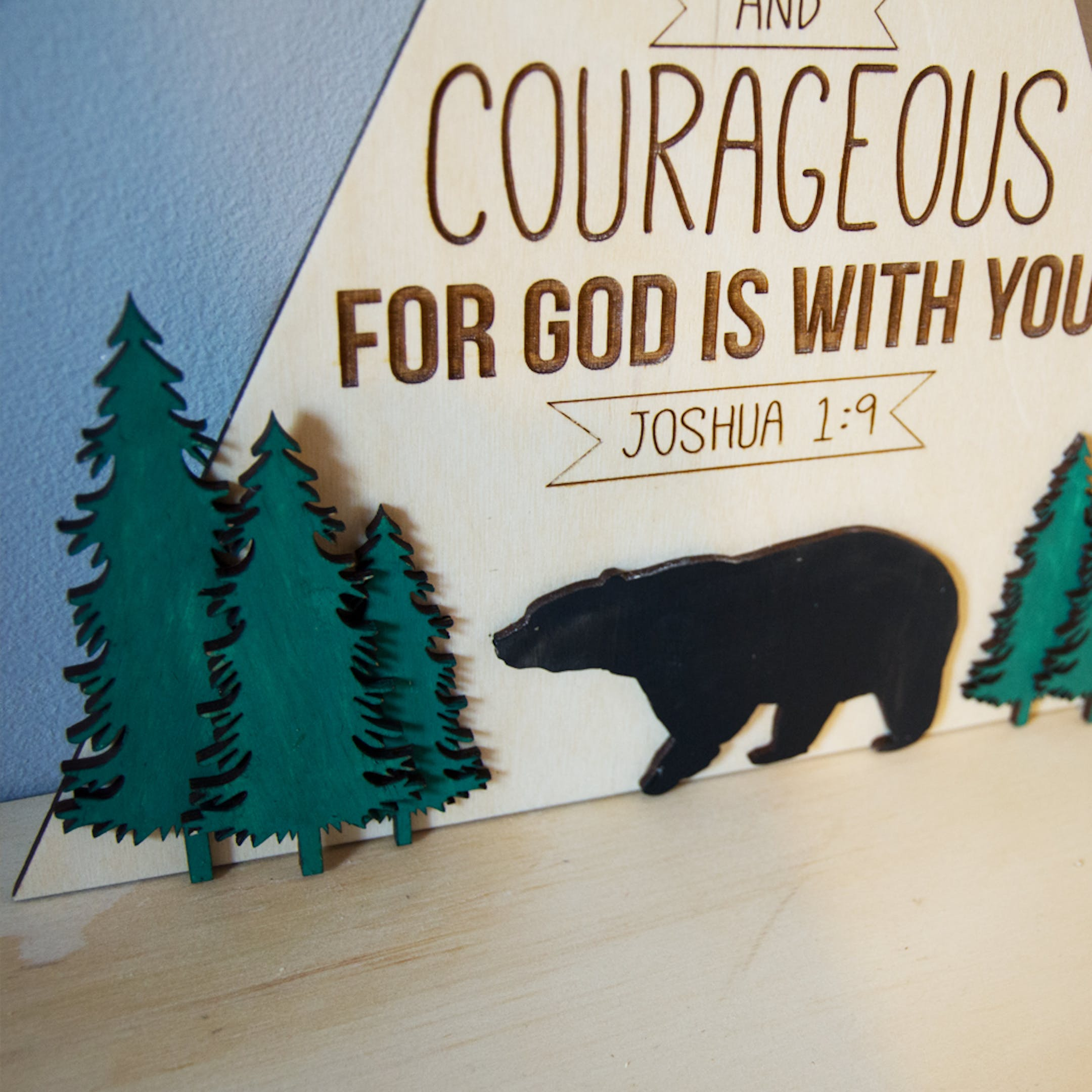 Wooden Nursery Sign - Joshua 1:9 - Be Strong - Birch and Tides