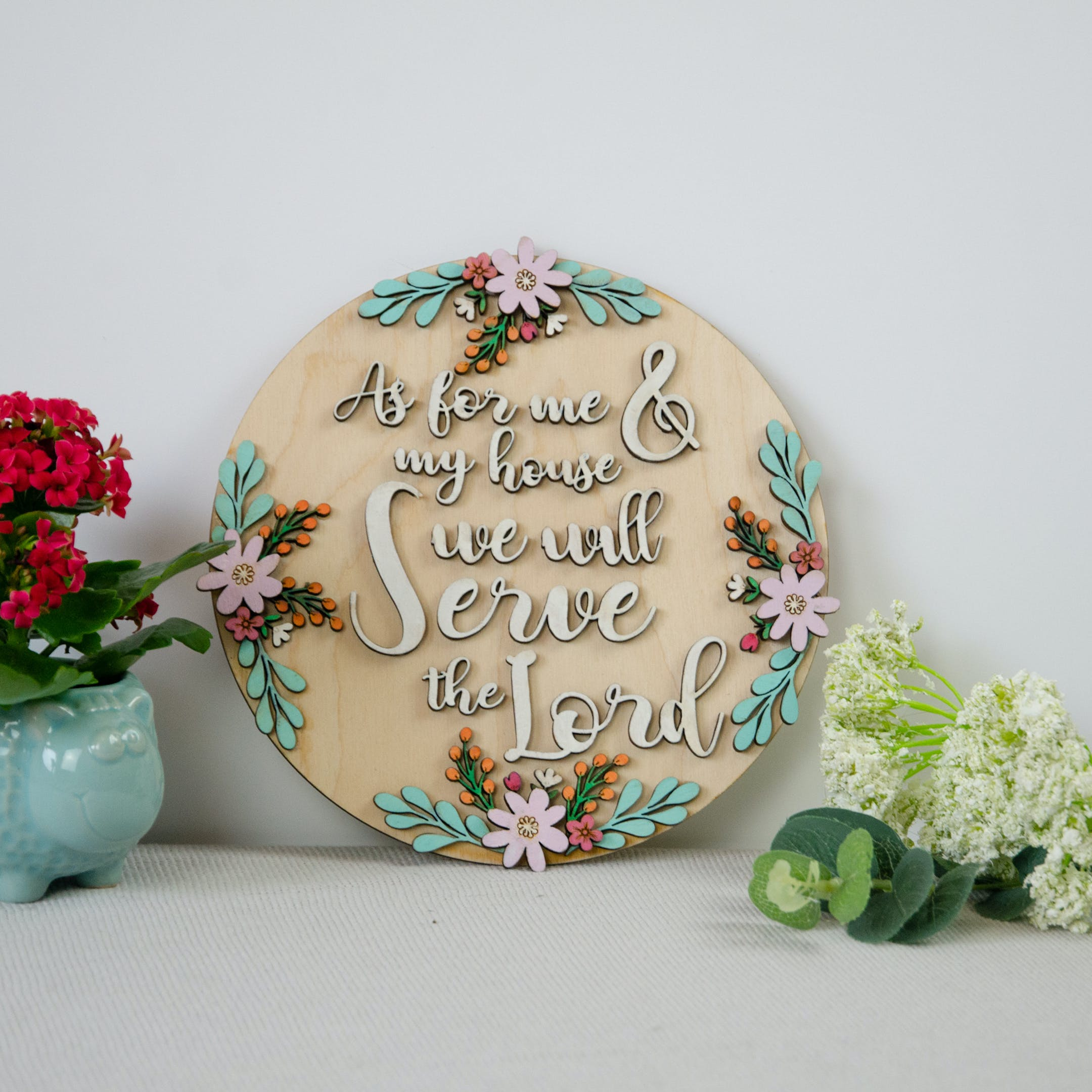 Wooden Verse Sign - Joshua 24:15 - Birch and Tides