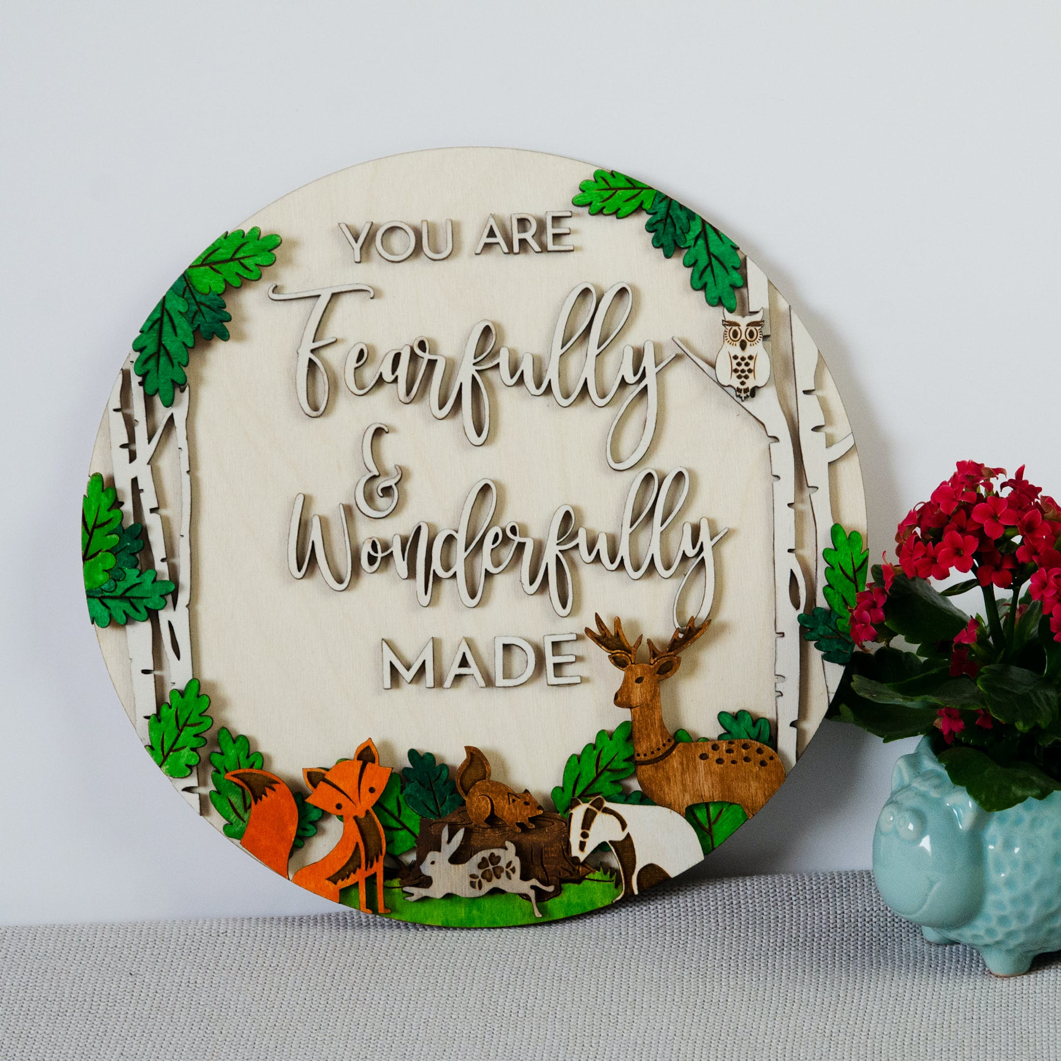 Woodland Themed Psalm 139 Plaque - Birch and Tides