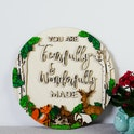 'You Are Fearfully & Wonderfully Made' Woodland Themed Wooden Sign - Psalm 139:14 - Birch and Tides