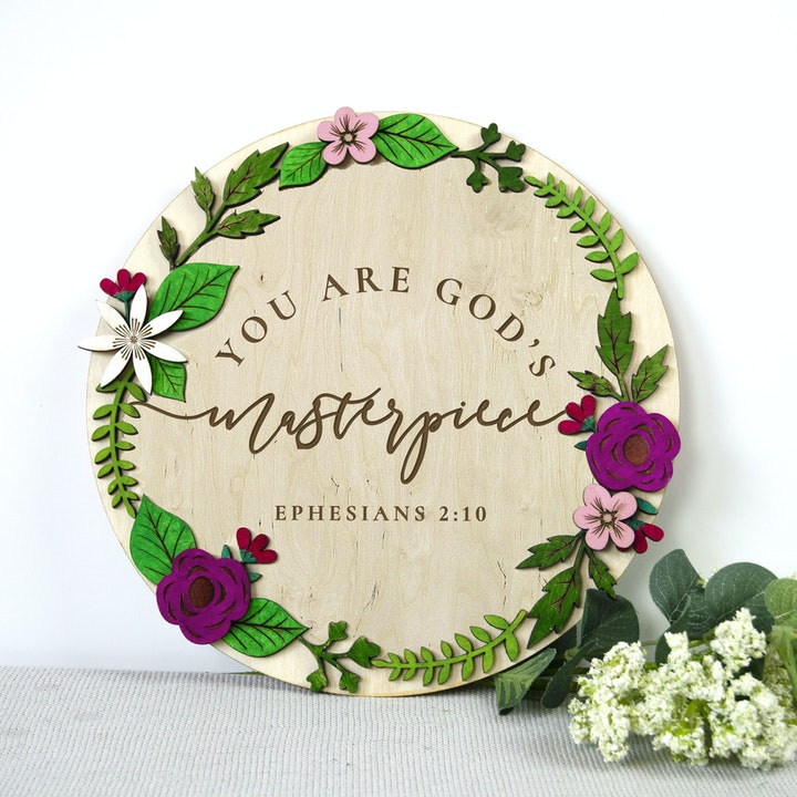 'You Are God's Masterpiece' Wooden Nursery Sign - Ephesians 2:10 - Birch and Tides