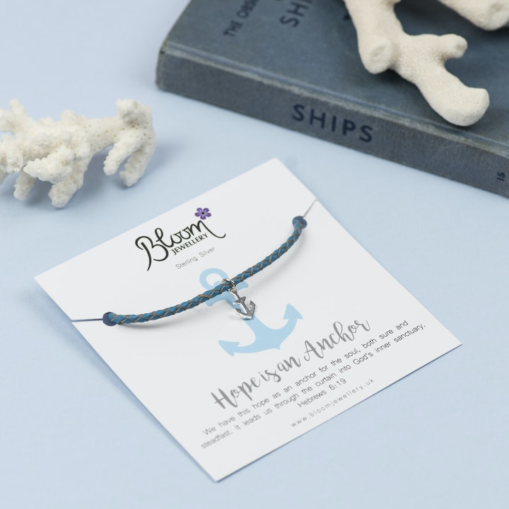Anchor Christian Bracelet - Blue | Bloom Jewellery | Cheerfully Given