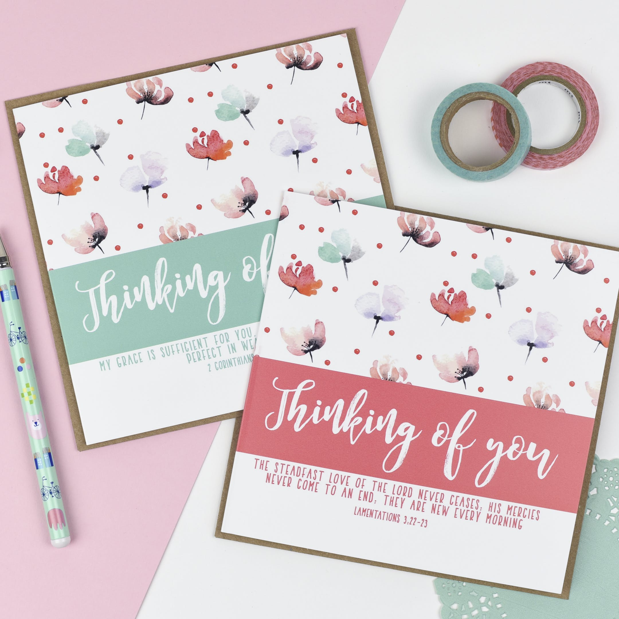 Floral pastel Thinking of You Christian Cards by CasaMia Designs at Cheerfully Given