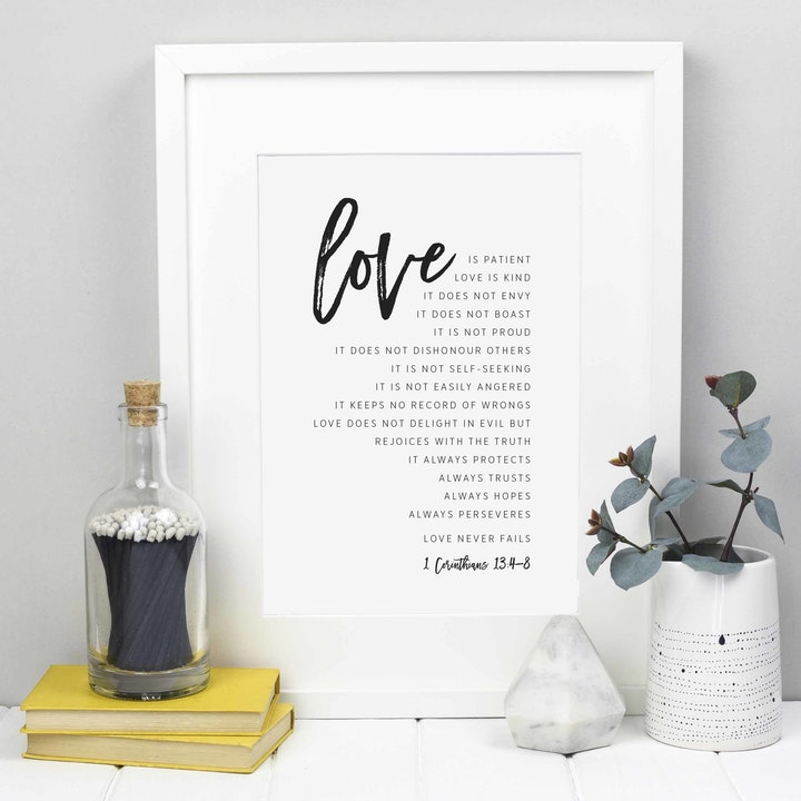 Handlettered white card and black handwriting Love is verses in 1 Corinthians 13:4-8 by Creative Bea