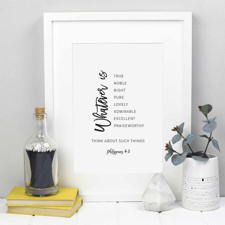 Whatever Is True Scripture Wall Art - Philippians 4:8