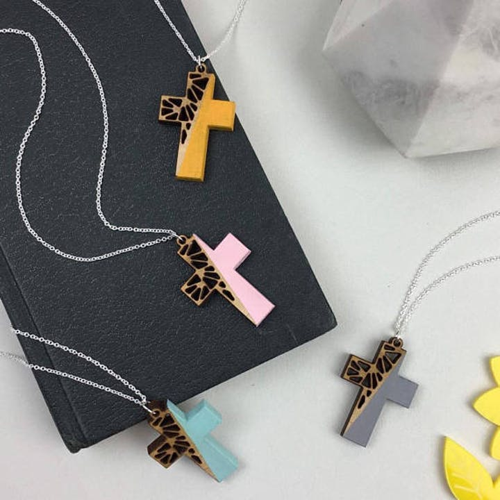 Wooden Cross Necklace for Women - Geometric Cross Pendant