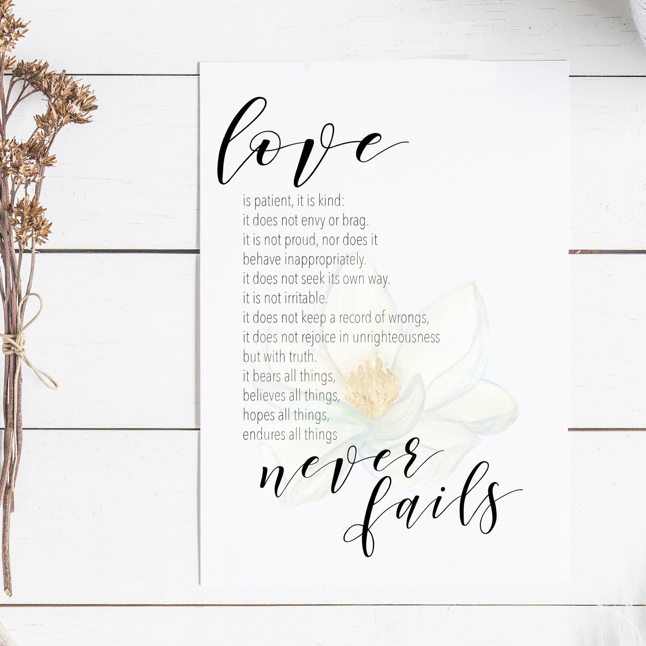1 Corinthians 13:4-8 Floral Print - Love Never Fails - Christian Lettering Company