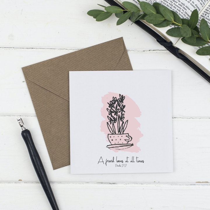 A Friend Loves At All Times Card - Proverbs 17:17 - Christian Lettering Company