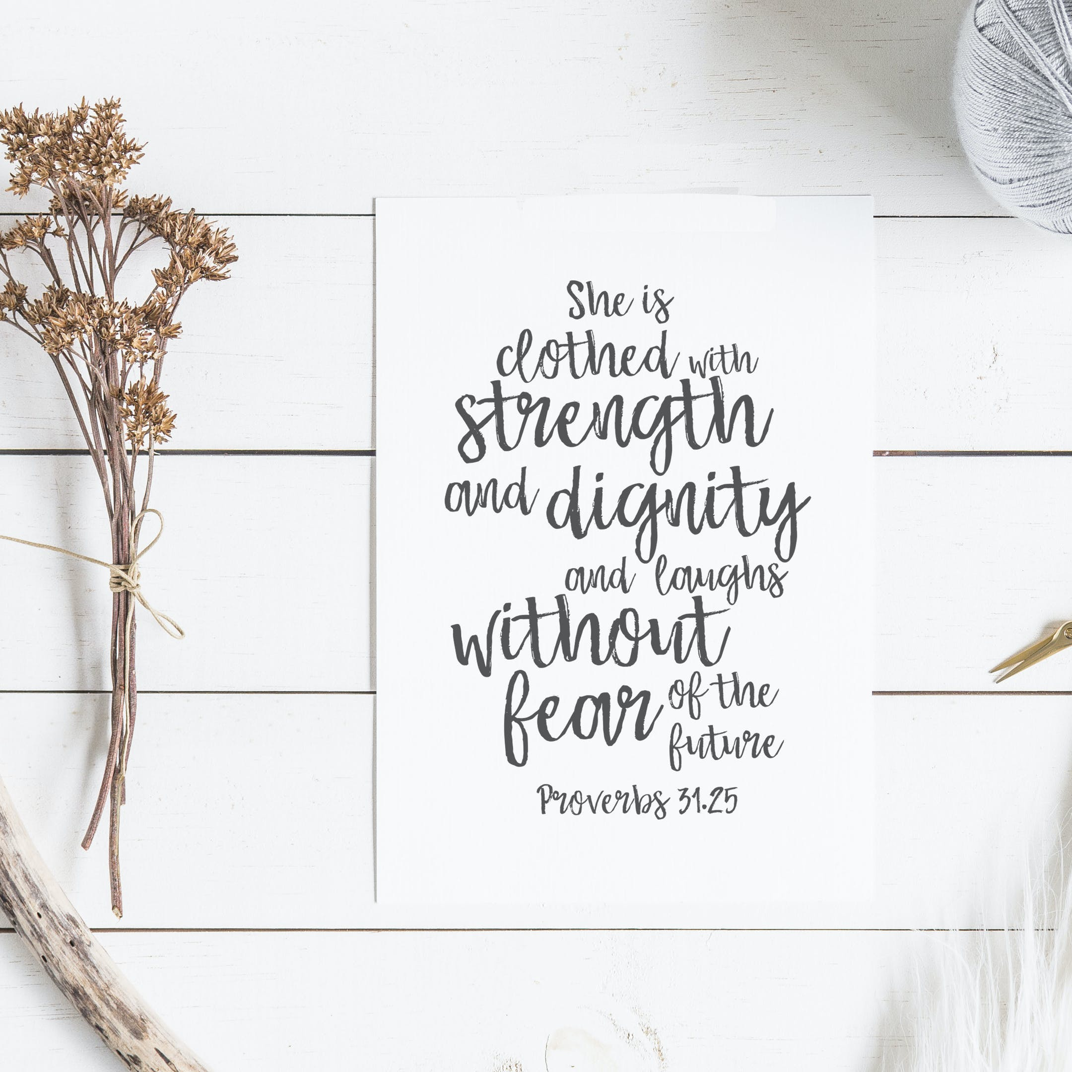 A6 She Is Clothed With Strength And Dignity Card - Proverbs 31:25 - Christian Lettering Company