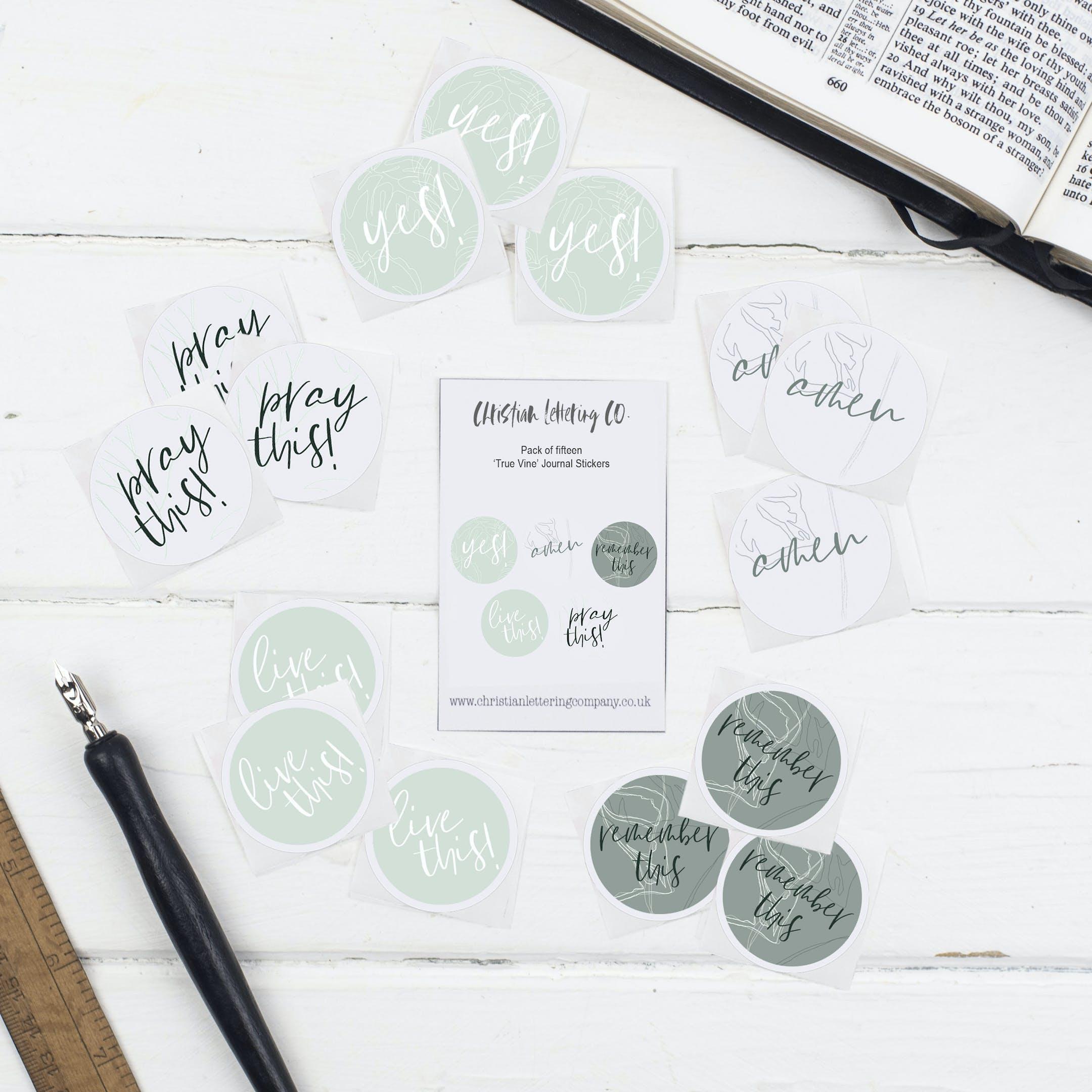 Bible Journal Stickers - True Vine - Christian Lettering Company