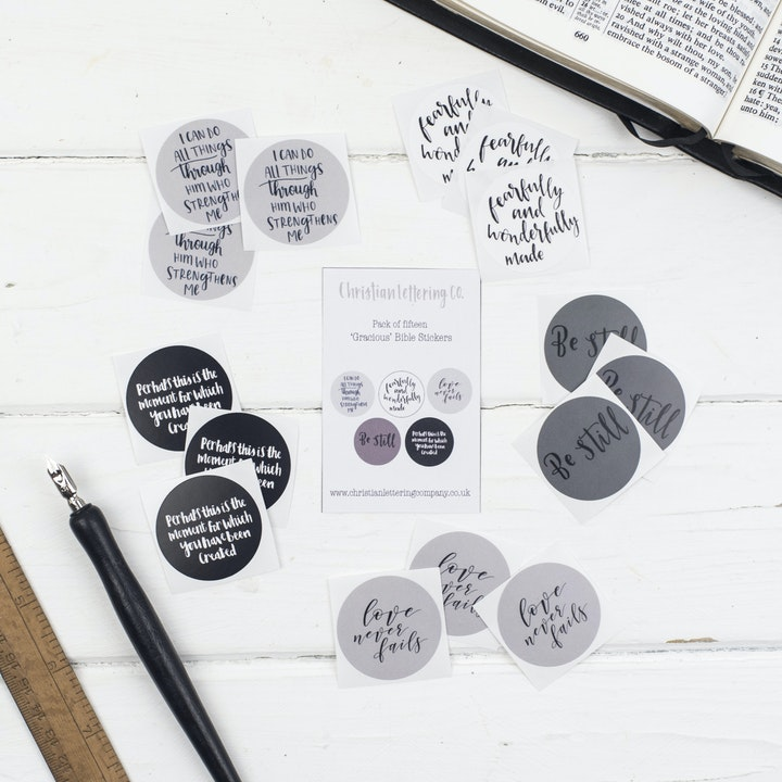 Bible Verse Stickers - Gracious - Christian Lettering Company