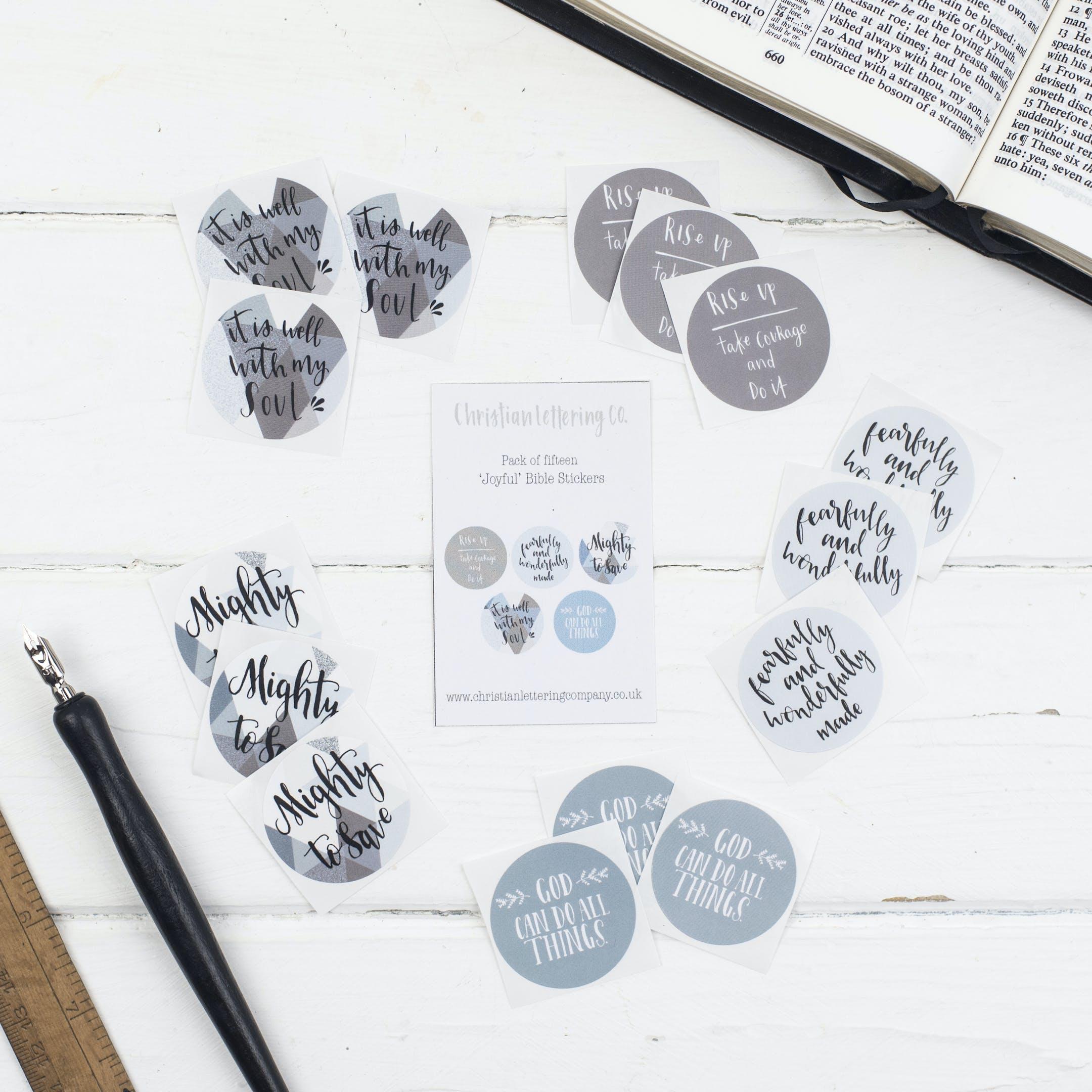 Bible Verse Stickers - Joyful Stickers - Christian Lettering Company