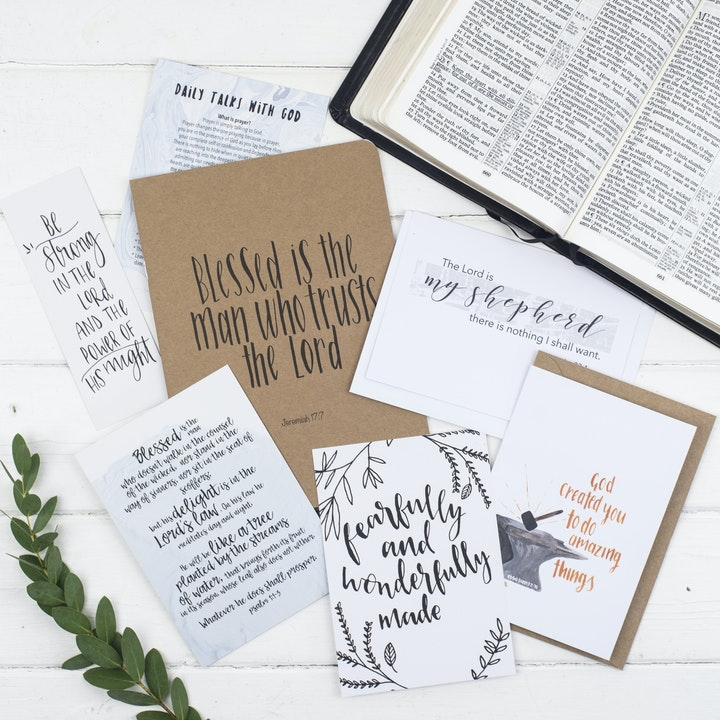 Blessed Is The Man Prayer Journal Gift Set For Him - Jeremiah 17:7 - Christian Lettering Company