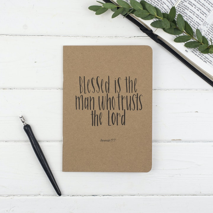 Blessed is the Man Prayer Journal - Jeremiah 17:7 - Christian Lettering Company