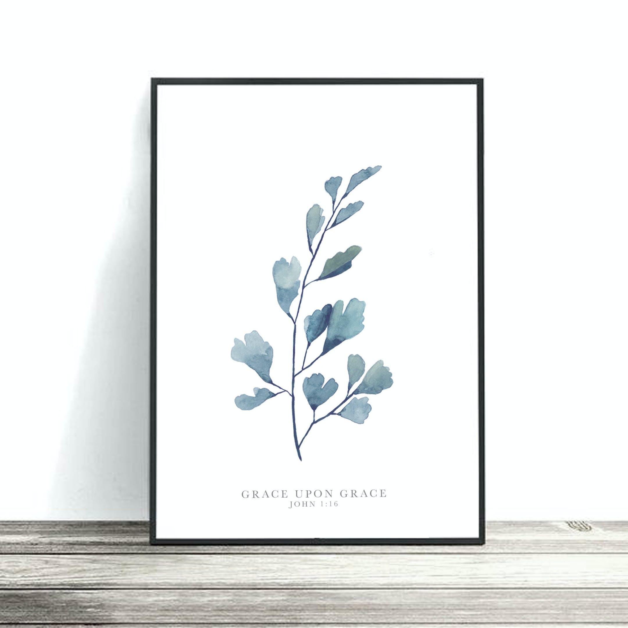 Blue Maidenhead Print - John 1:16 - Christian Lettering Company