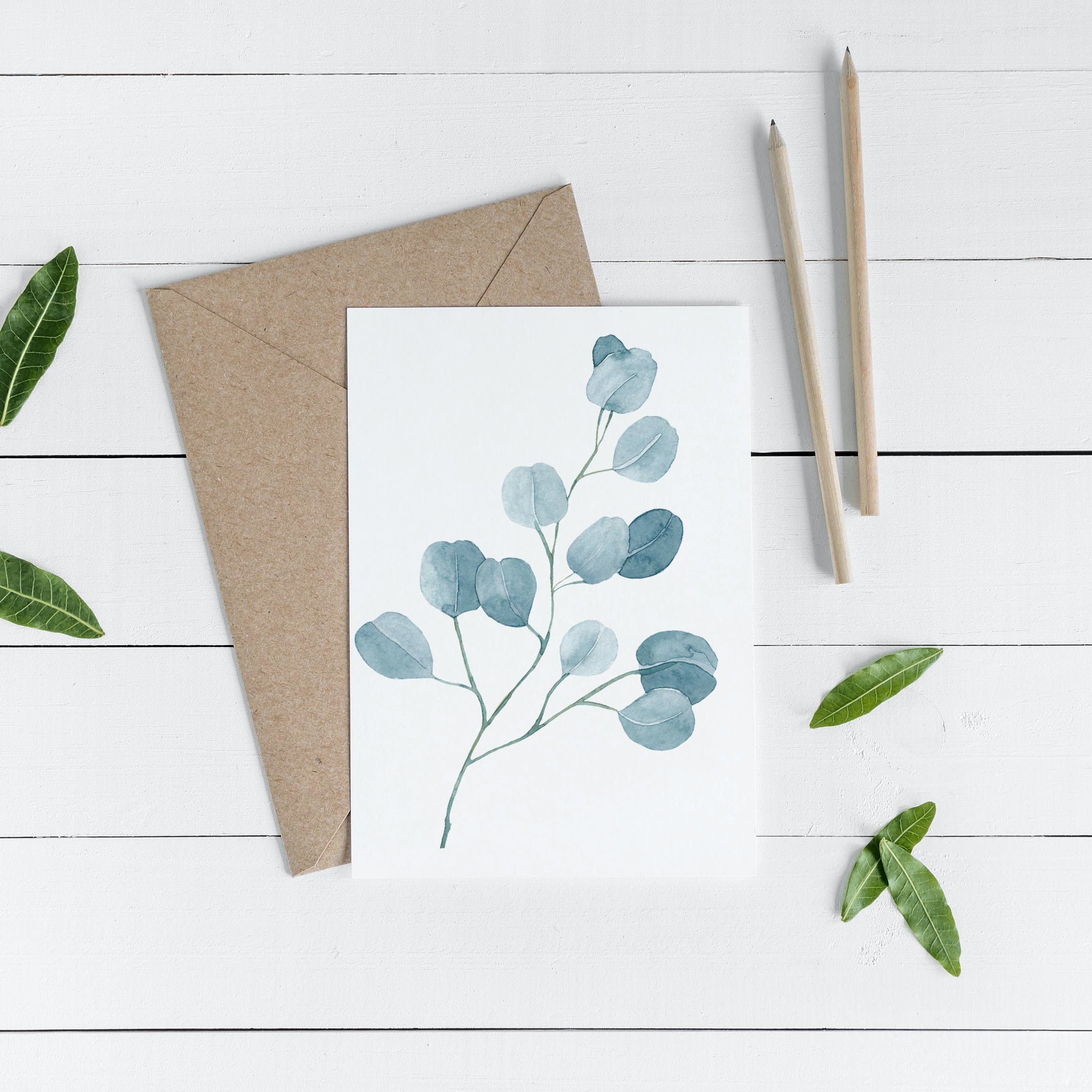 Blue Sprig Botanical Occasional Greeting Card - Psalm 33:5