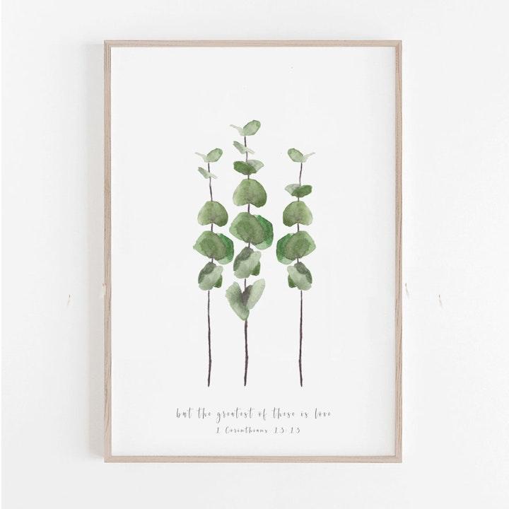 Botanical Baby Blue Eucalyptus Print - 1 Corinthians 13:13 - Christian Lettering Company